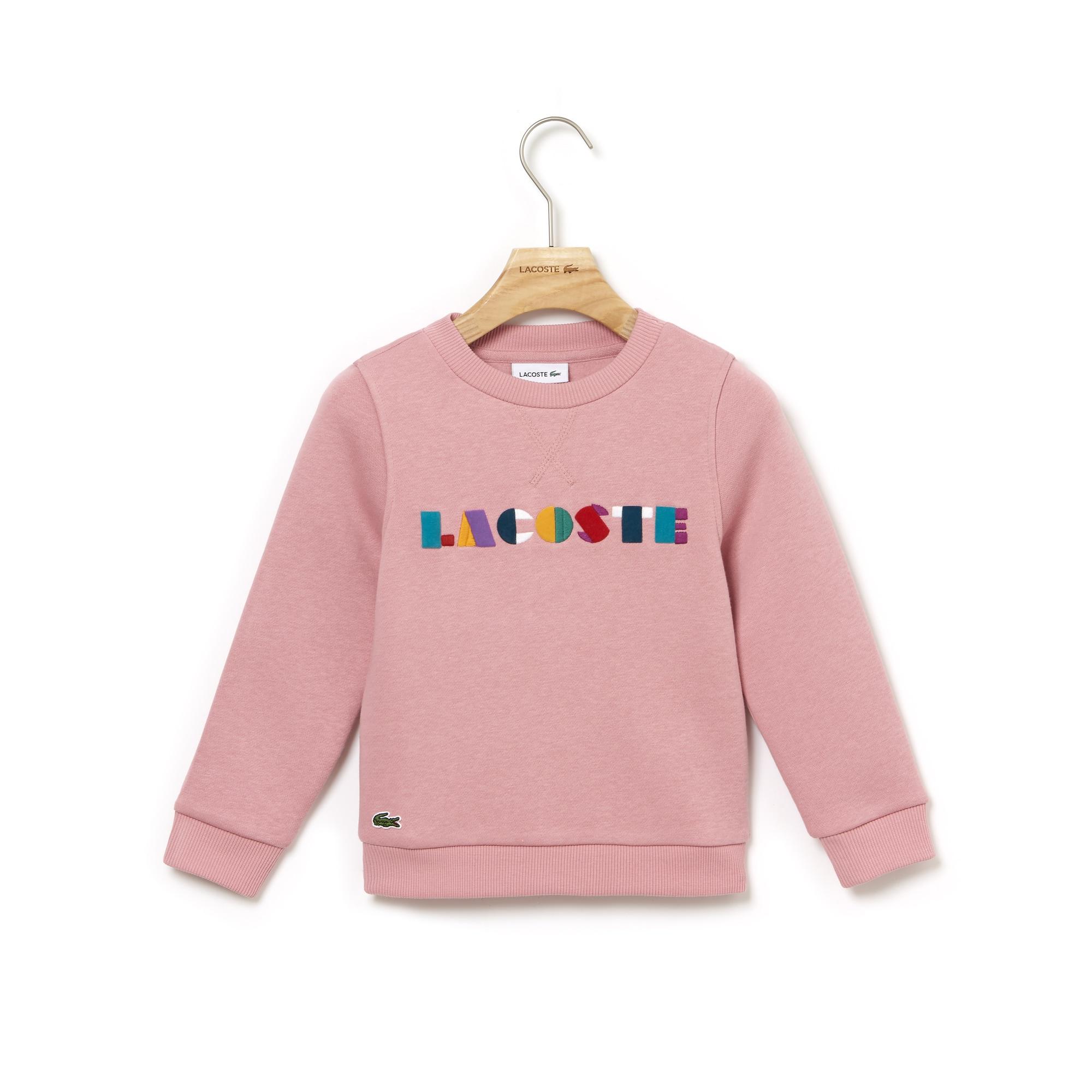 Sweatshirt meisjes fleece ronde hals gekleurd Lacoste-borduurwerk
