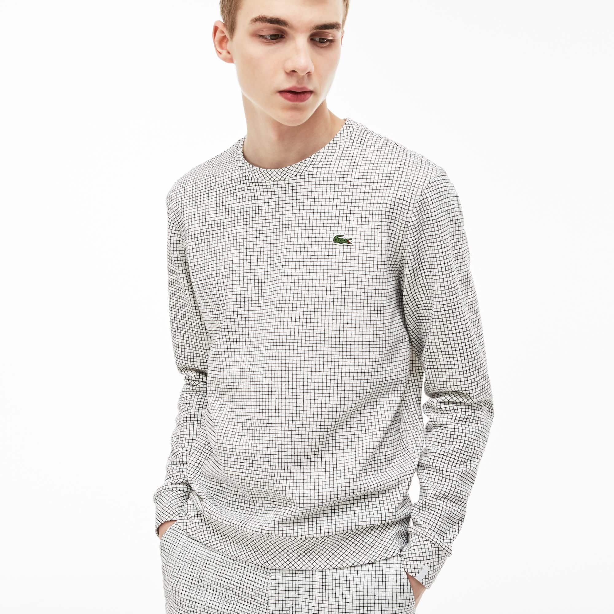 Lacoste LIVE-sweatshirt heren ronde hals fleece met miniruitjes