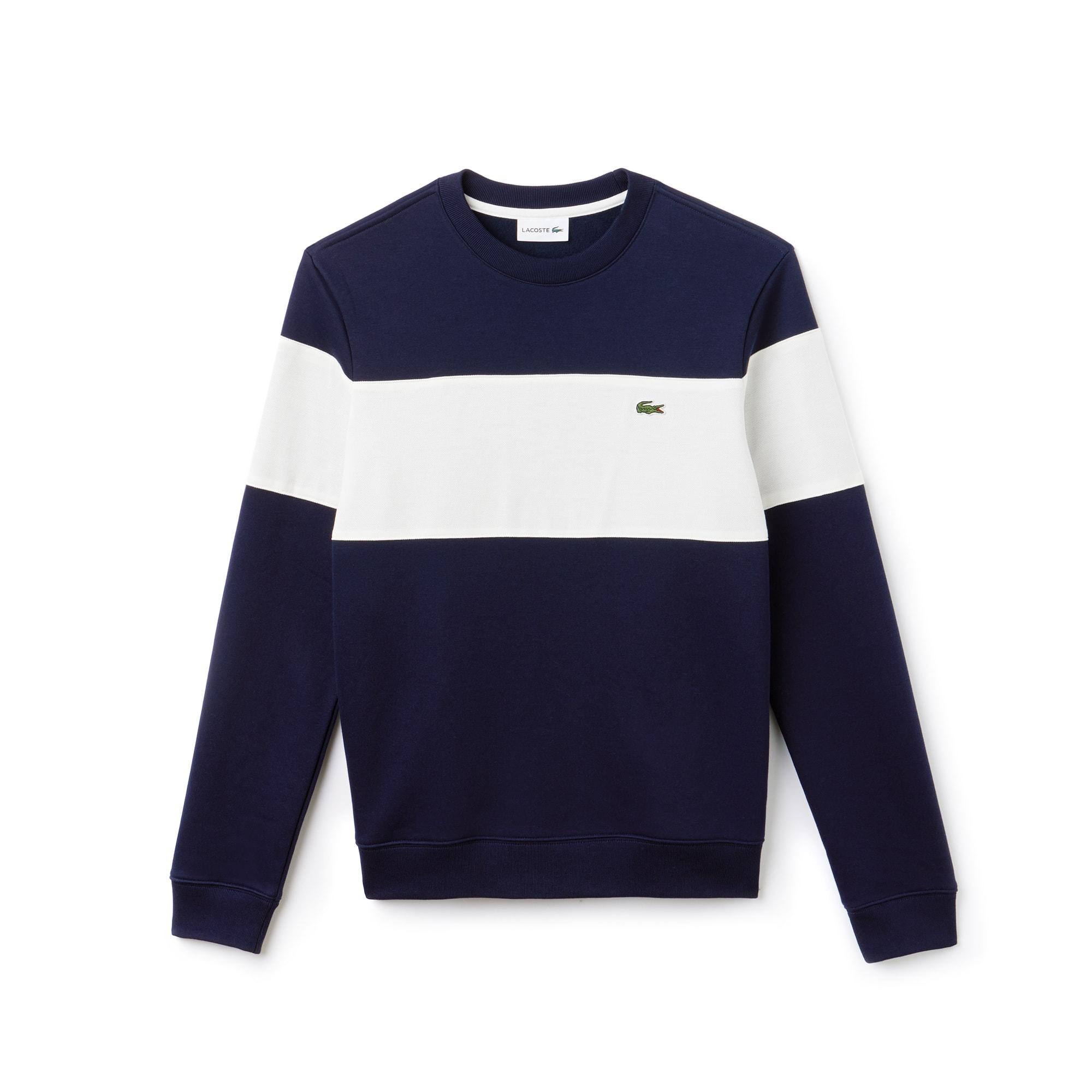 Sweatshirt heren ronde hals katoenfleece met colorblock