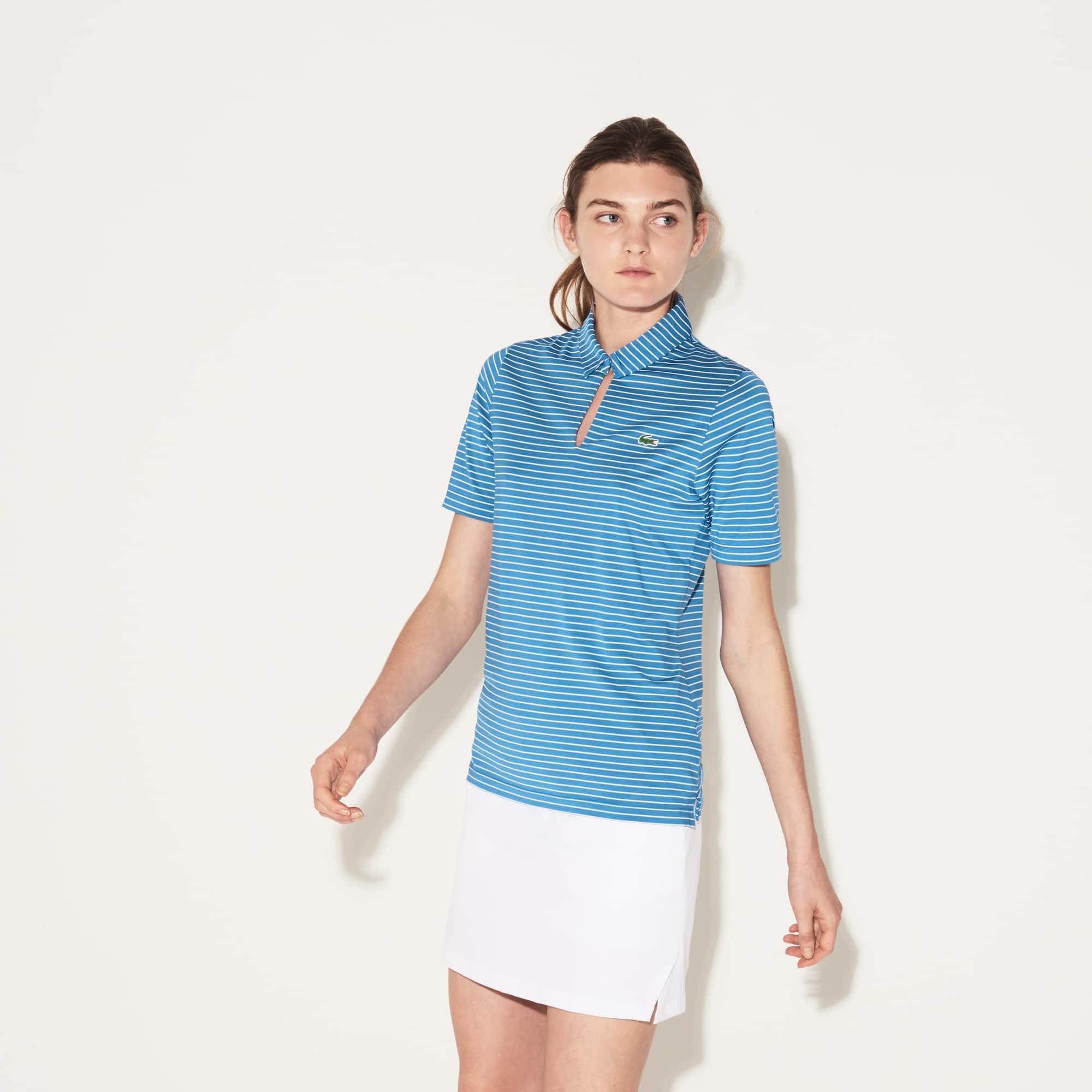 Lacoste SPORT Golf-polo dames gestreept jersey met traanvormige hals