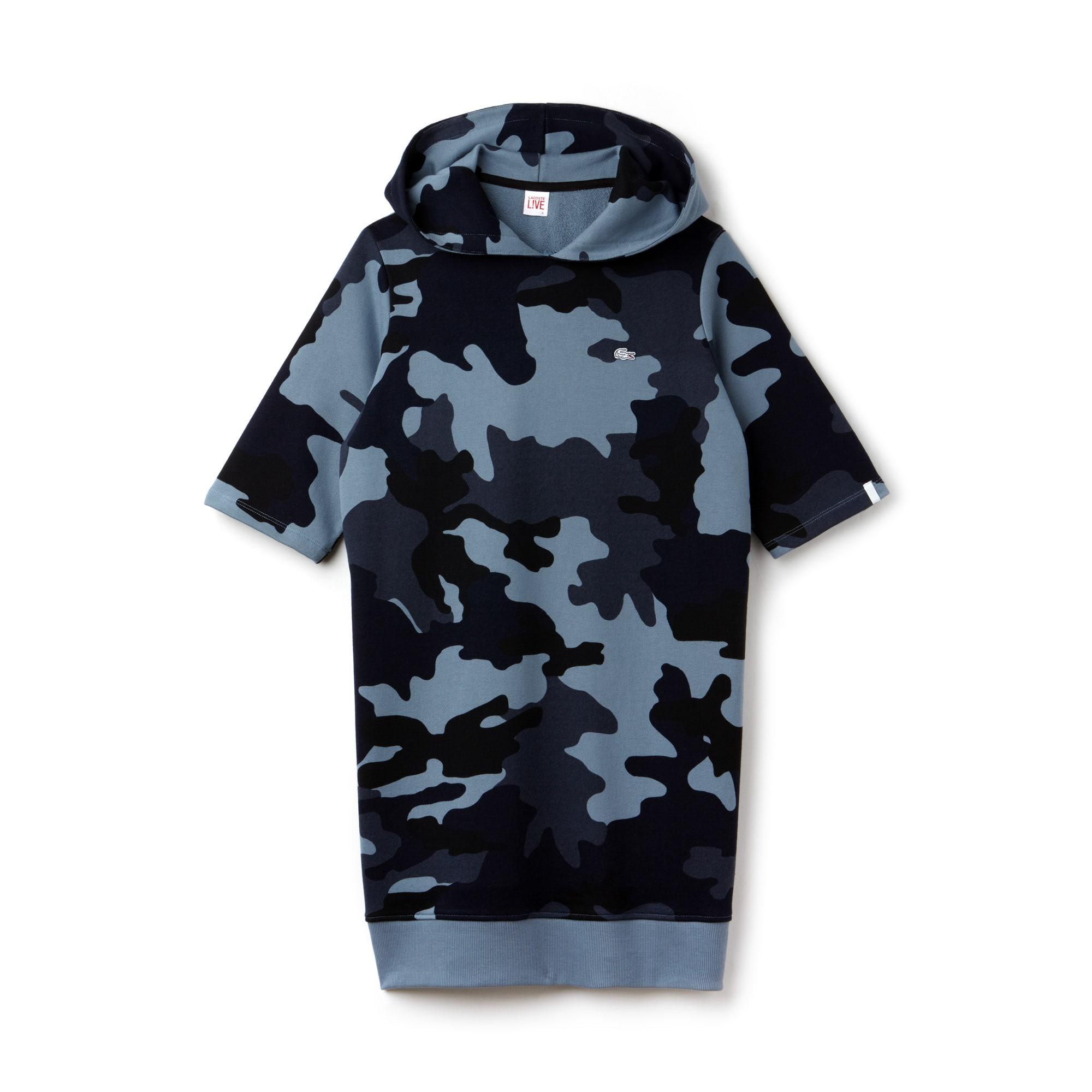Lacoste LIVE-sweatshirtjurk dames fleece met camouflageprint en capuchon