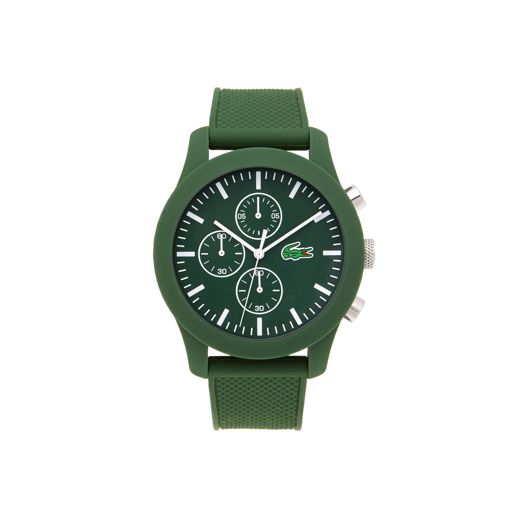 Lacoste.12.12 chronograafHorloge van groene siliconen