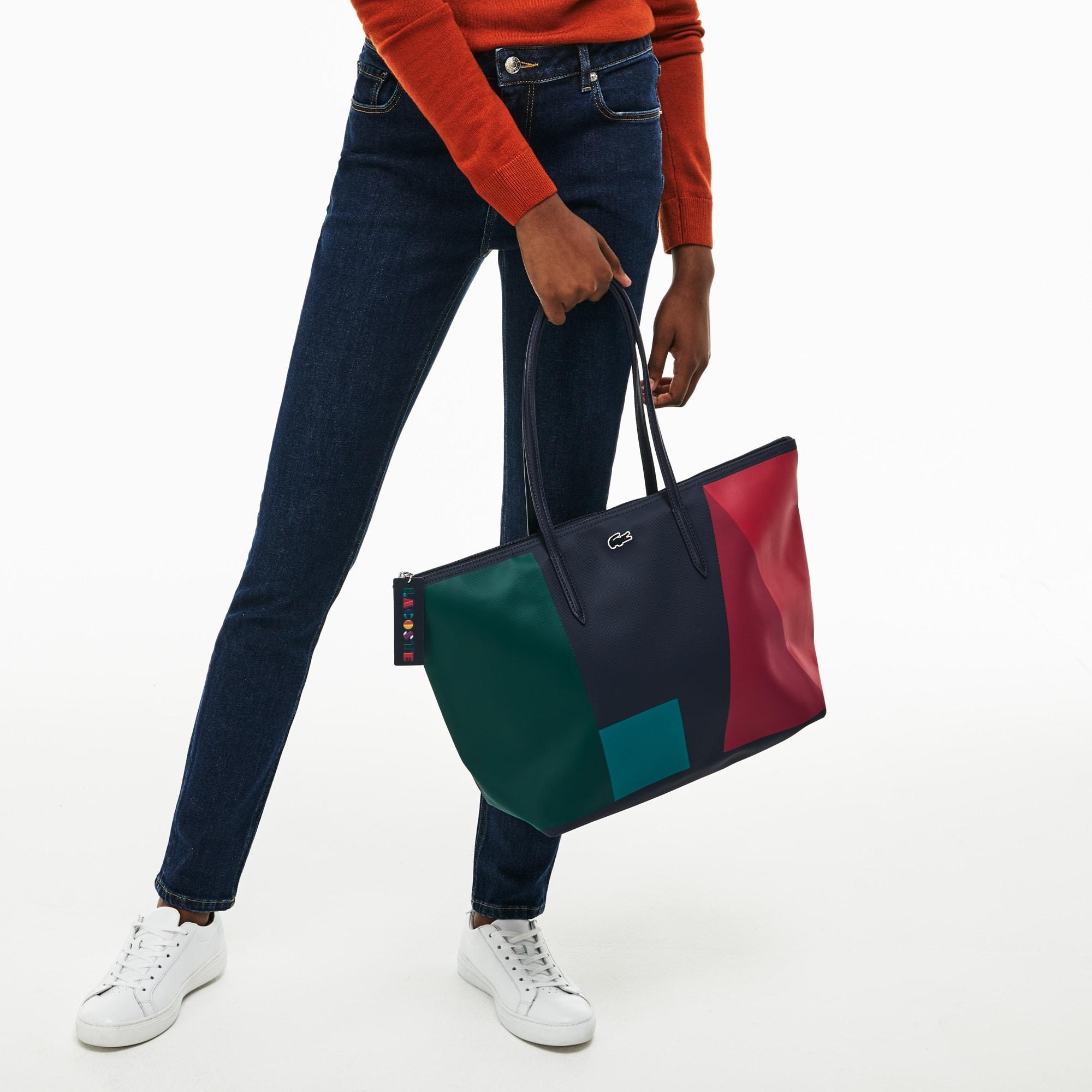 L.12.12 Concept-shopper dames groot petit piqué met rits en colorblock