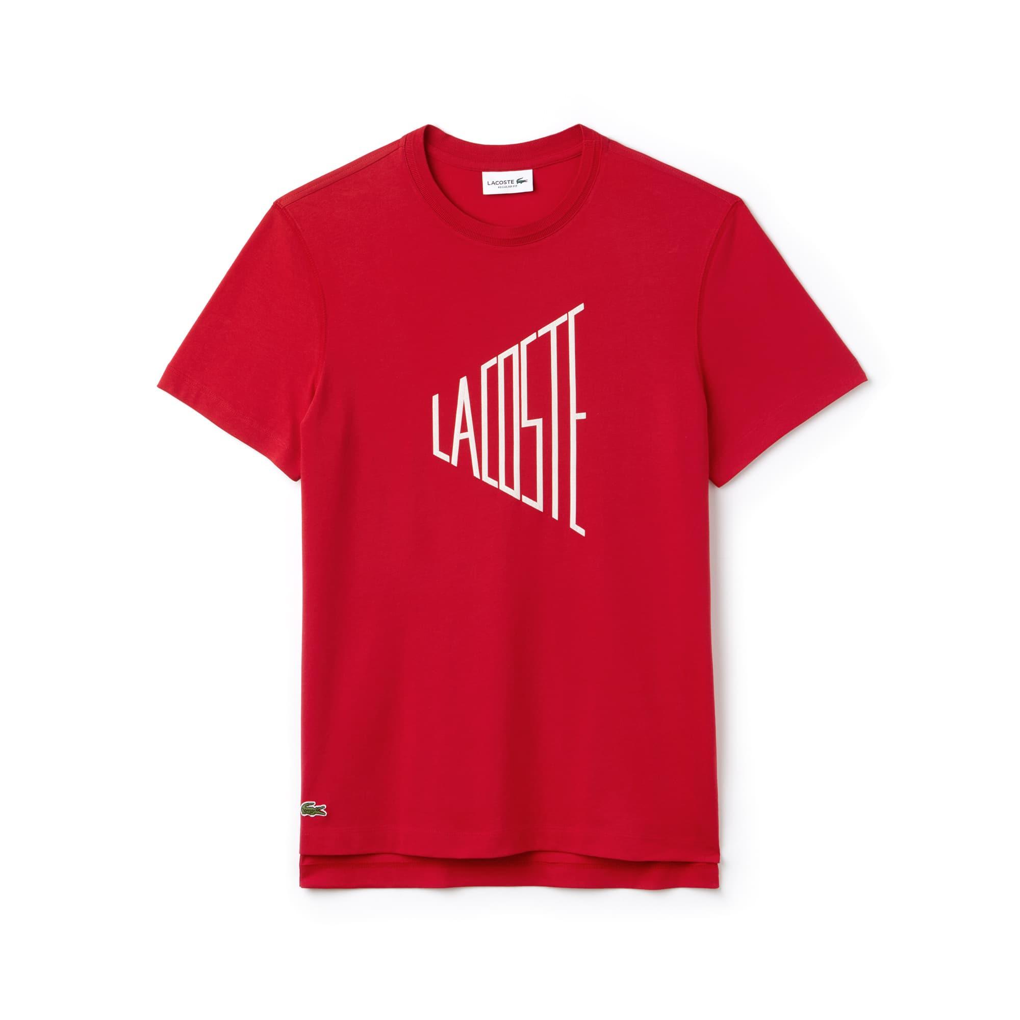 T-shirt heren ronde hals Lacoste-letters katoenjersey