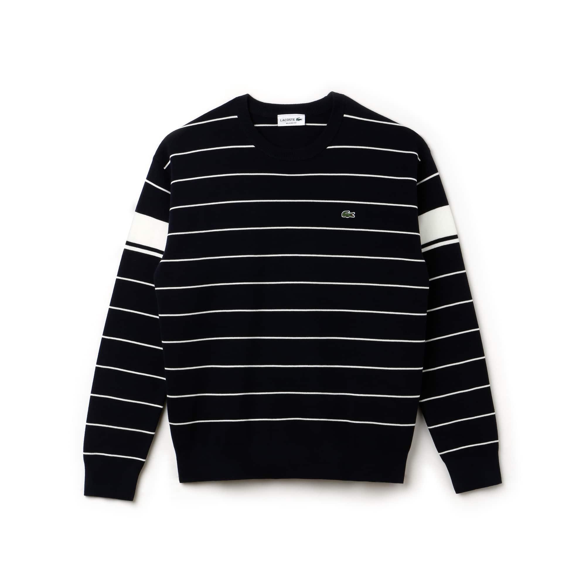 Sweater heren ronde hals gestreept Milanokatoen met contrasterende stroken