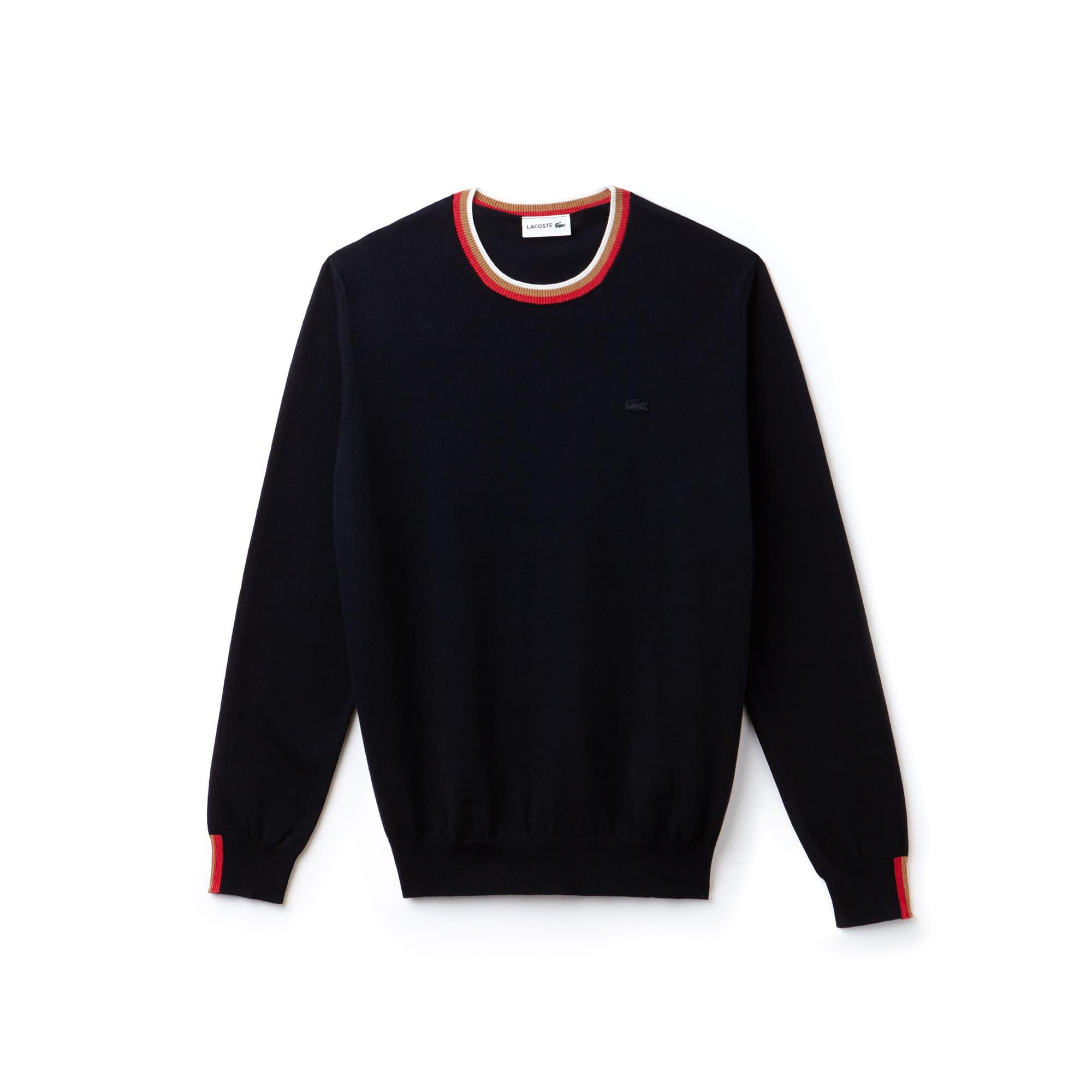 Lacoste Motion-sweater heren jersey met ronde hals en gestreepte accenten