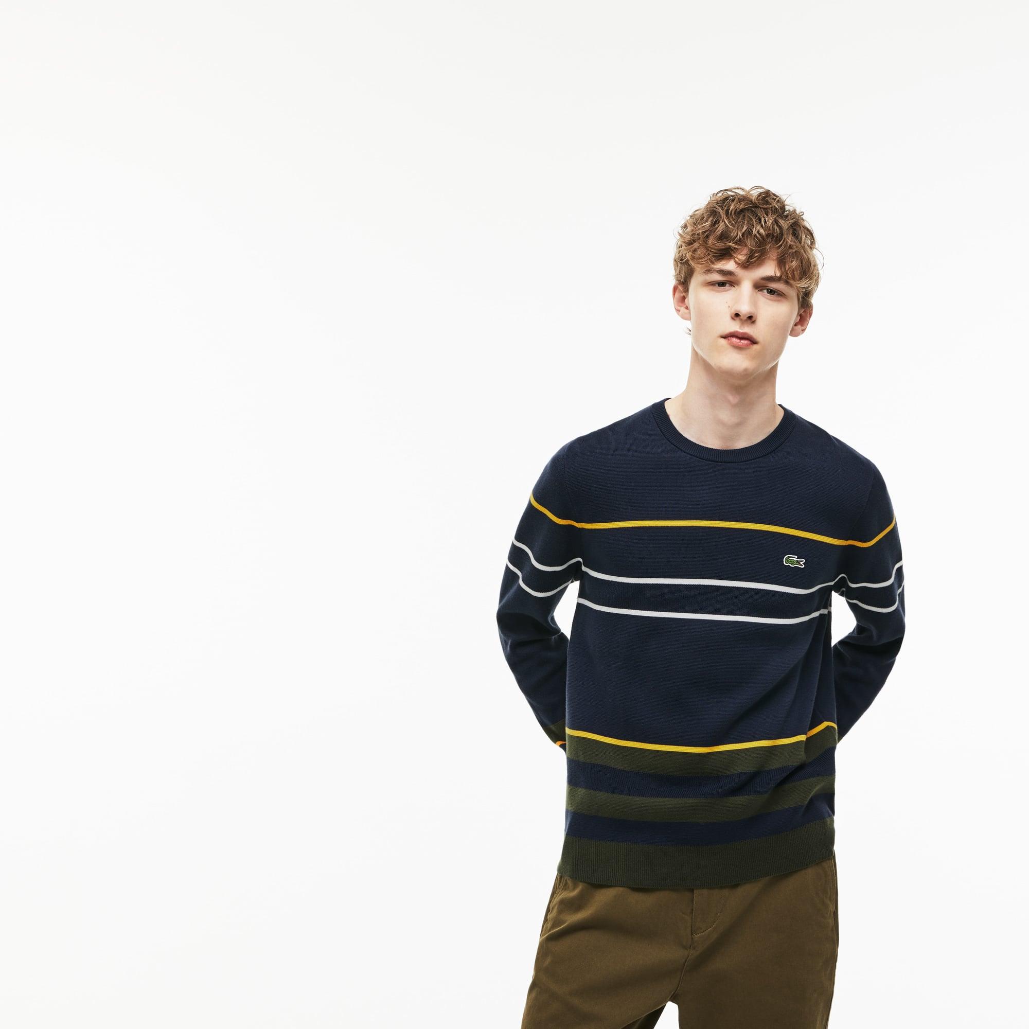Sweater heren ronde hals Milanokatoen met strepen in meerdere kleuren