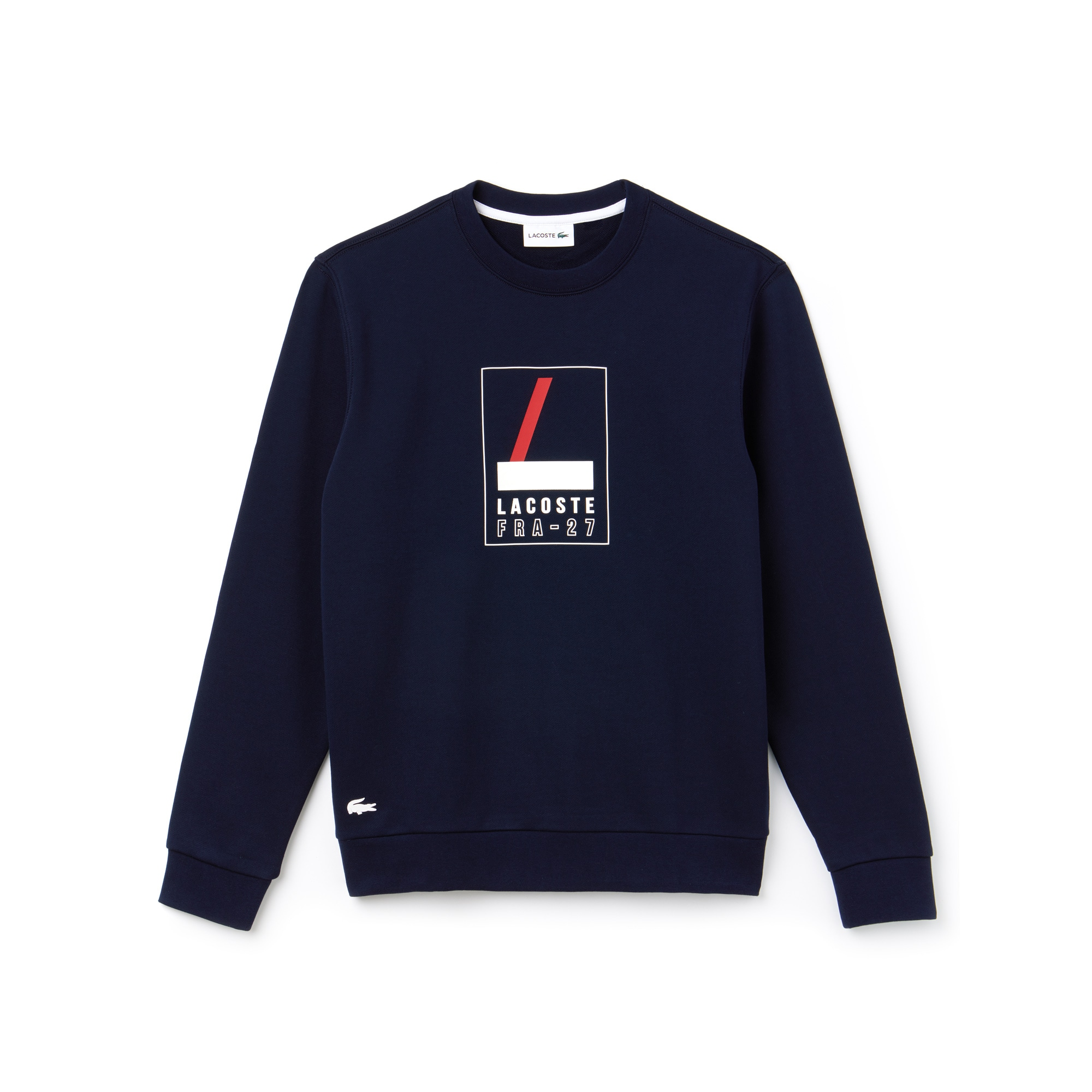 Sweatshirt heren ronde hals fleece met Lacoste-print