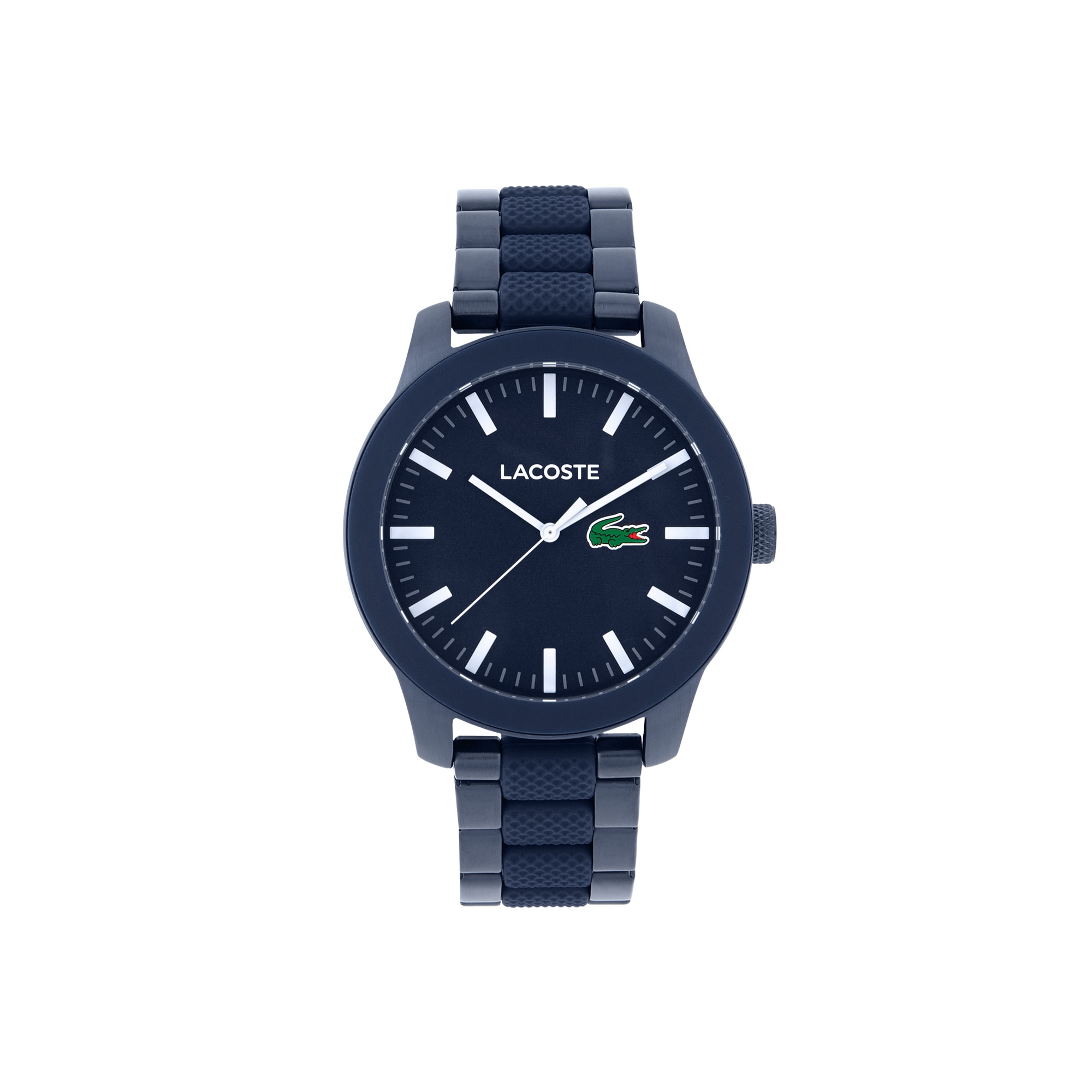 Men Lacoste 12.12 Horloge met Blauwen Staal Armband
