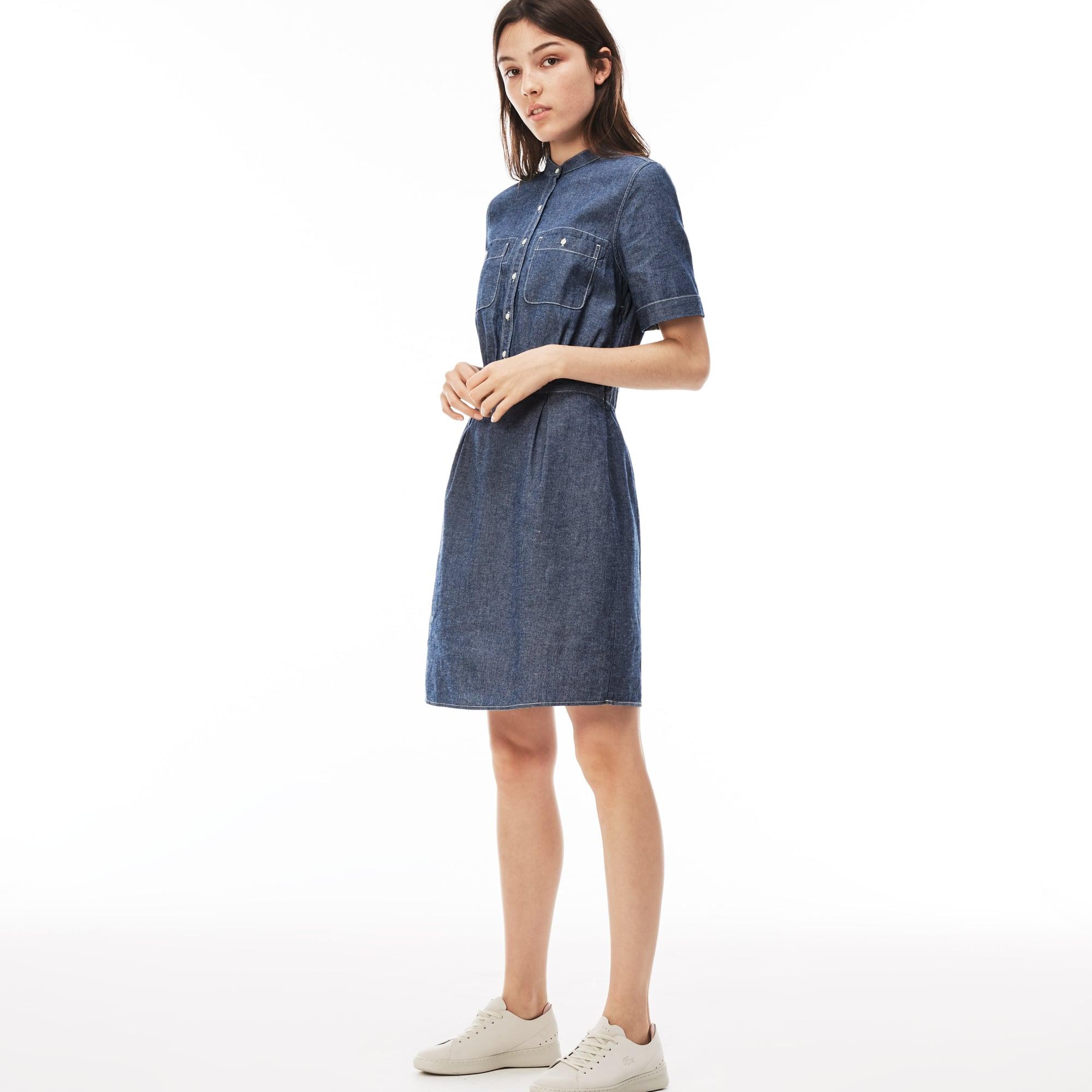 Lacoste LIVE-jurk katoenchambray met maokraag