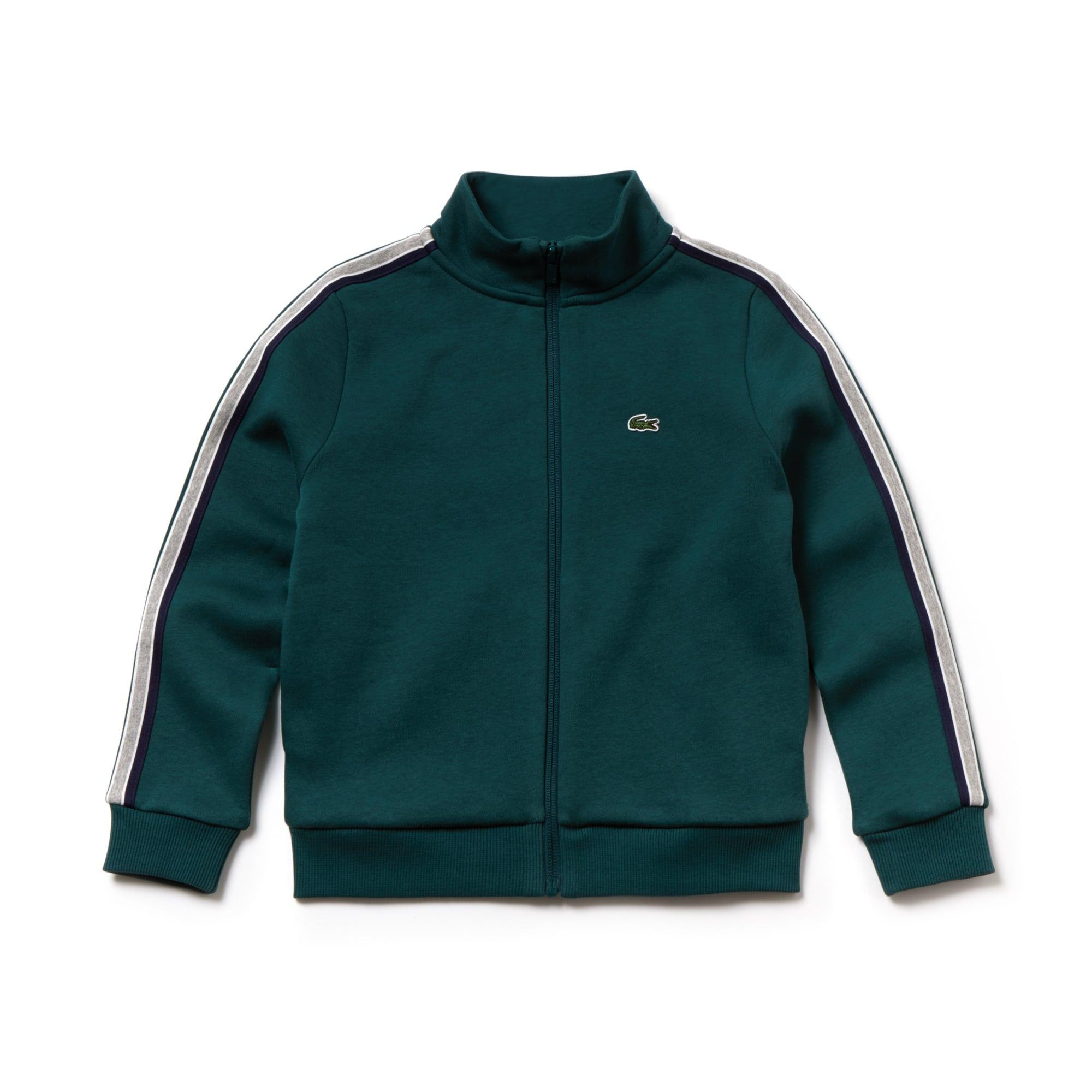 Sweatshirt jongens fleece met opstaande kraag, gekleurde stroken en rits