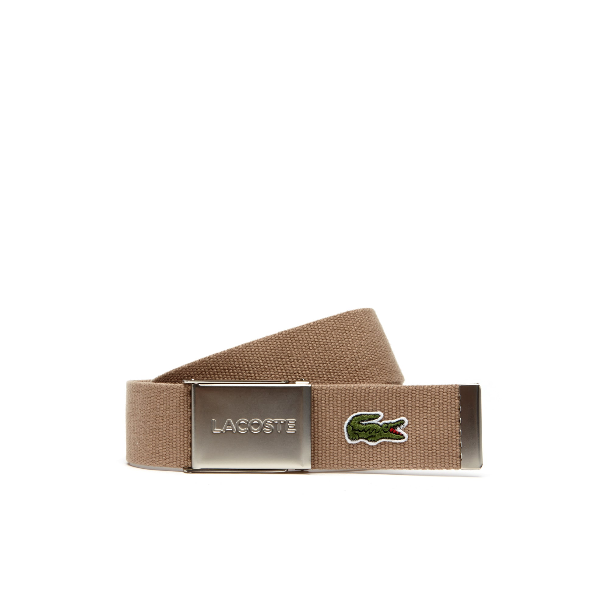 Geweven riem, Made in France-editie, platte gesp met Lacoste-gravering