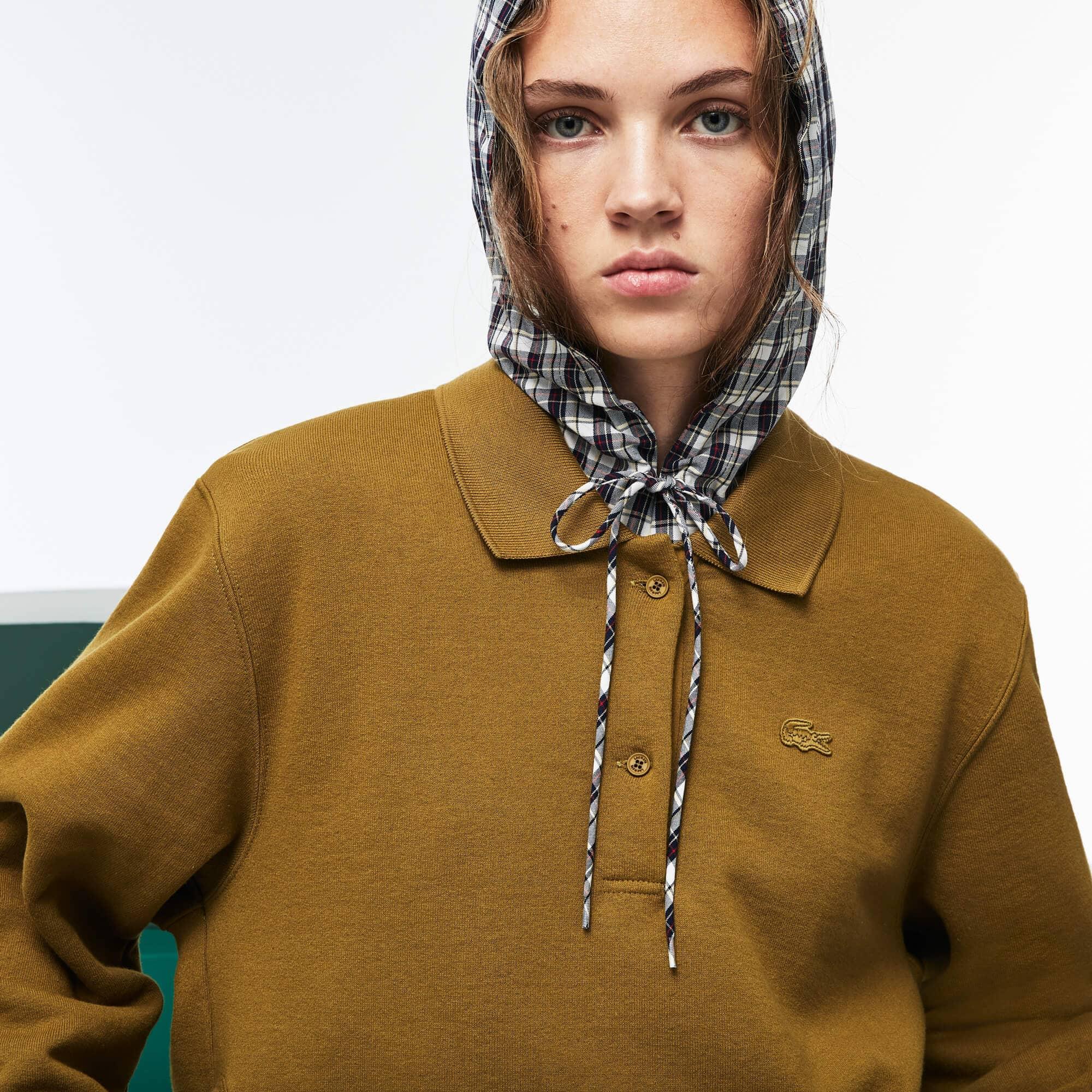 Lacoste Fashion Show-polo Dames 2-in-1 Fleece en Geruite Popeline