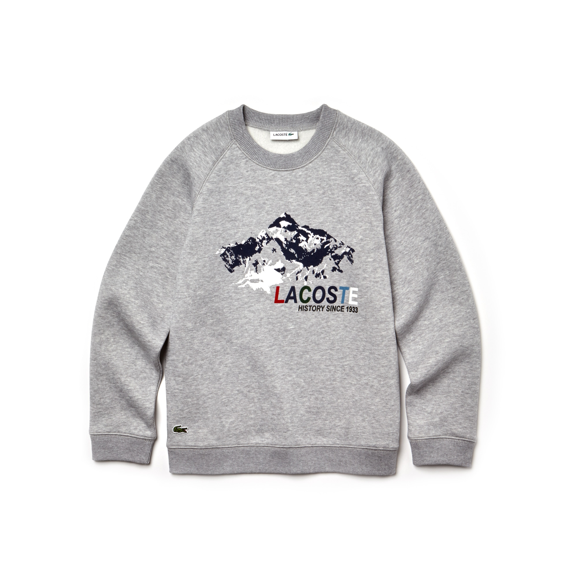 Sweatshirt jongens fleece met ronde hals en print