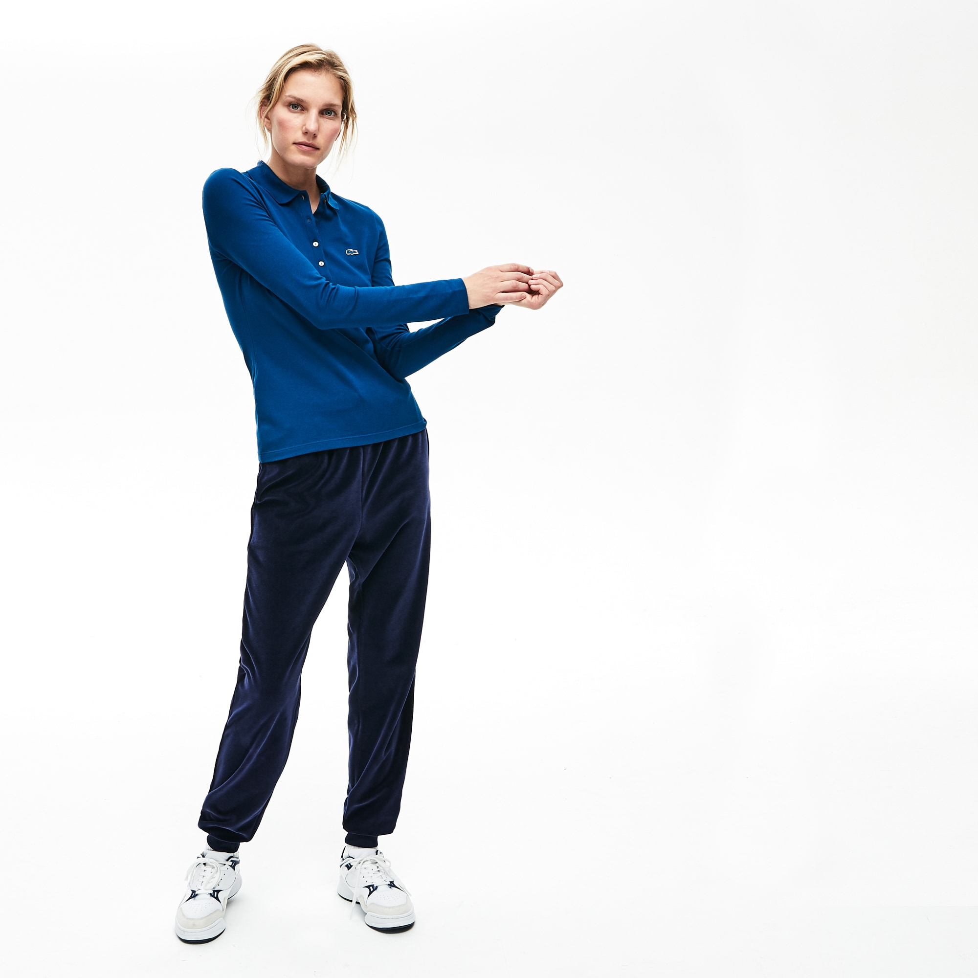 Lacoste-polo Dames Slim Fit Mini-piqué met Stretch