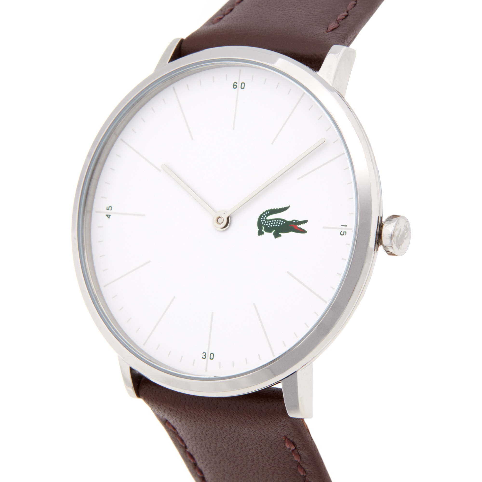 Moon Horloge Extra plat Witte wijzerplaat Bruine leren band
