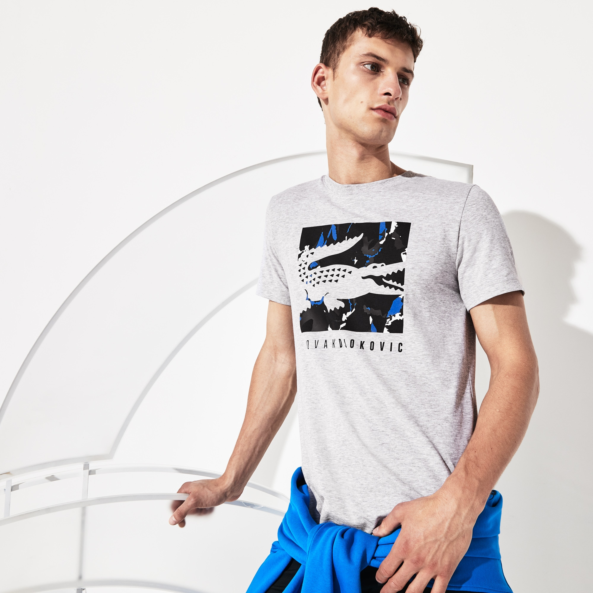 Lacoste SPORT x Novak Djokovic Collection-T-shirt heren krokodillenlogo met camouflageprint