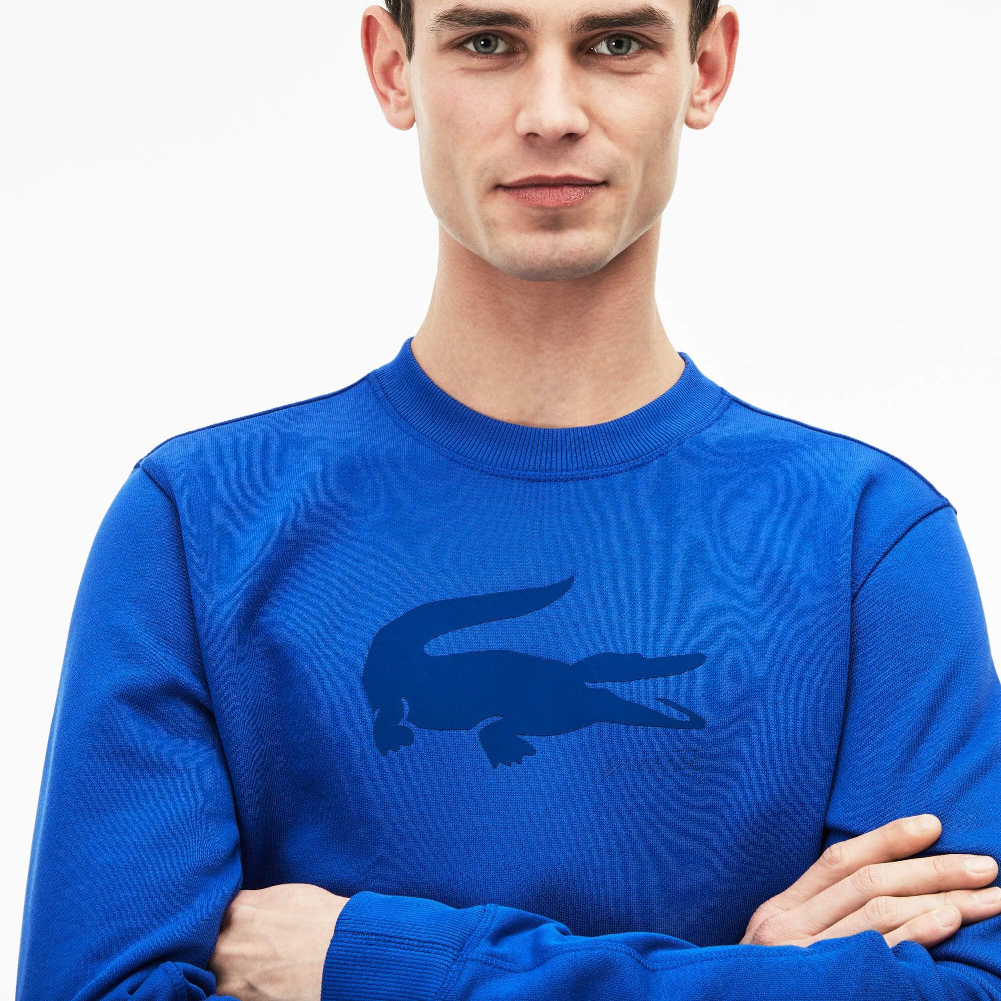 Sweatshirt heren ronde hals fleece met krokodillenprint