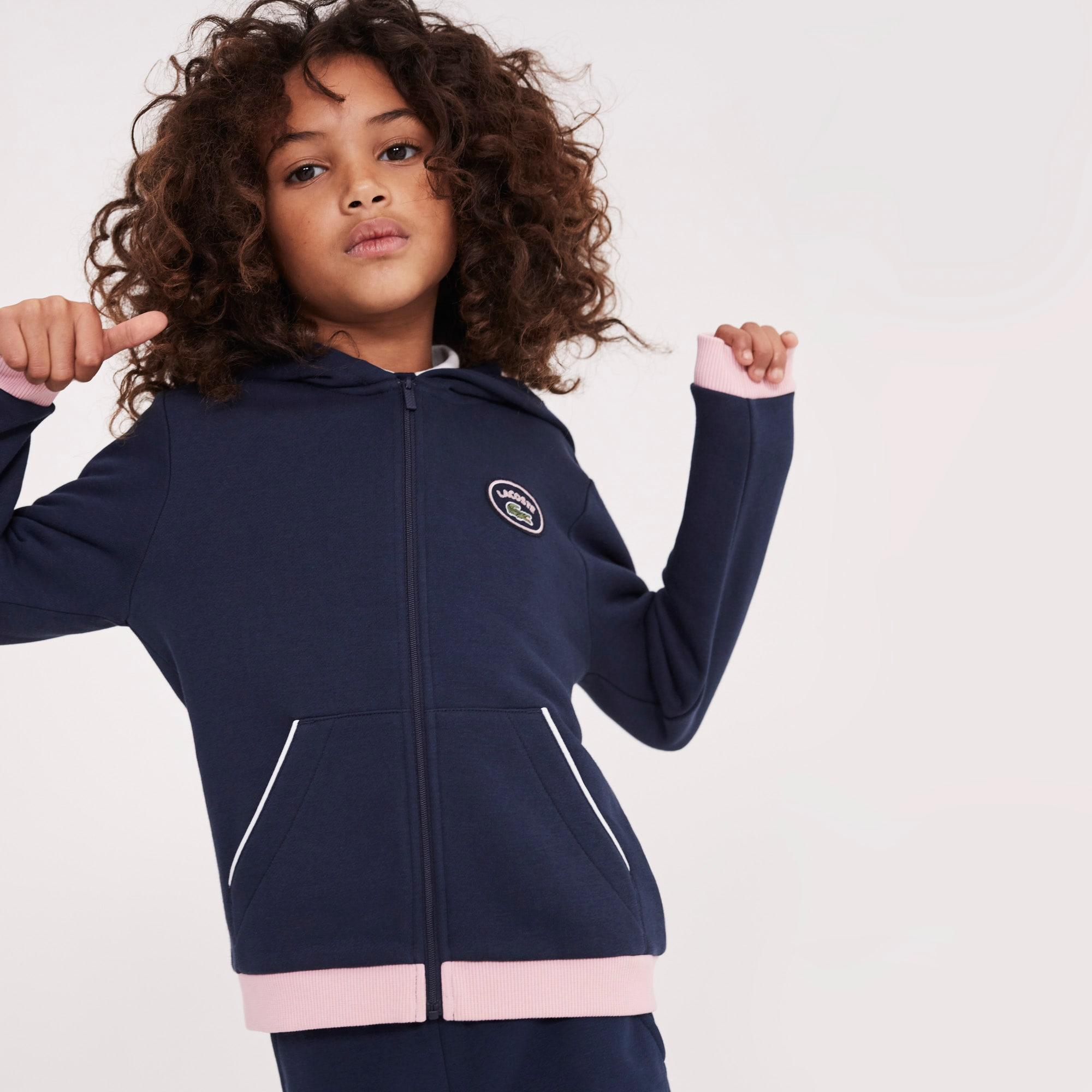Sweatshirt meisjes fleece met capuchon, rits en contrasterende accenten