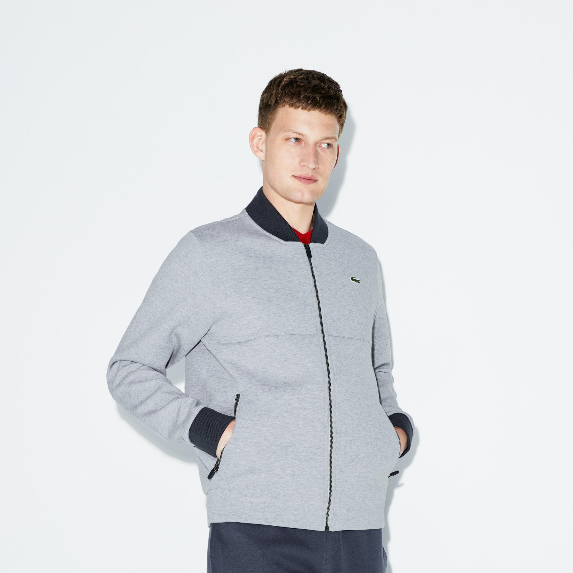 Lacoste SPORT Tennis-sweatshirt heren fleece met banana-kraag en rits
