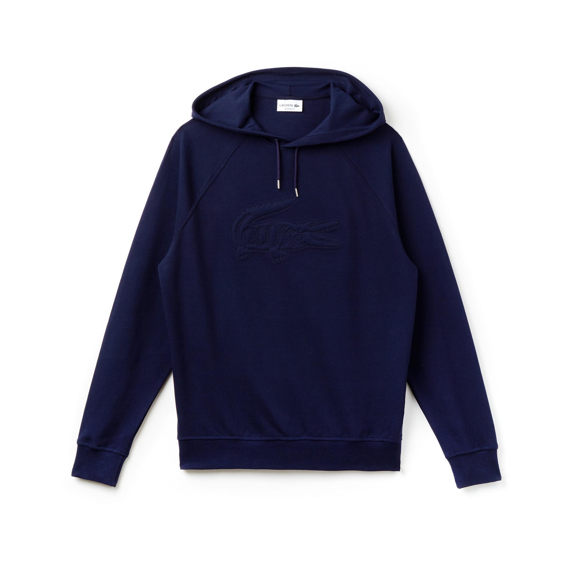 Sweatshirt heren oversized piqué geborduurd met capuchon