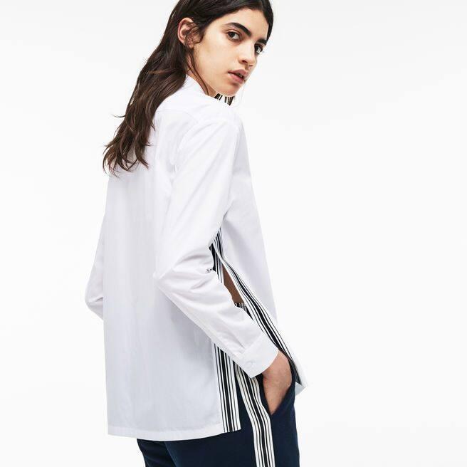 Shirt dames regular fit popeline met contrasterende strepen