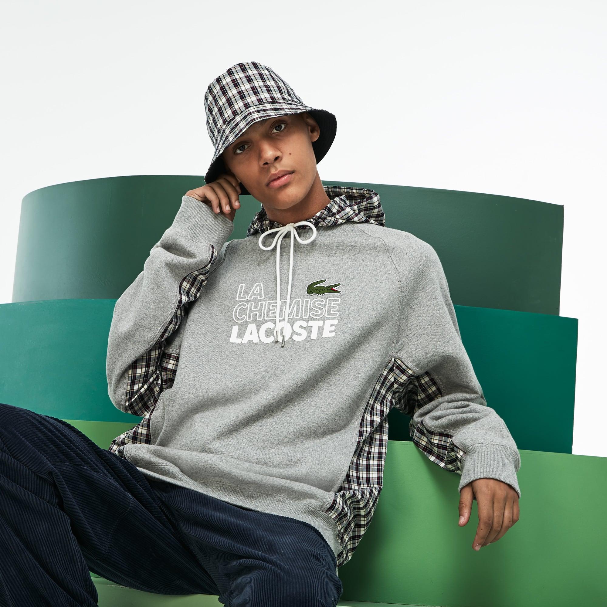 Fashion Show-Sweatshirt Heren 2-in-1 Fleece en Geruite Popeline