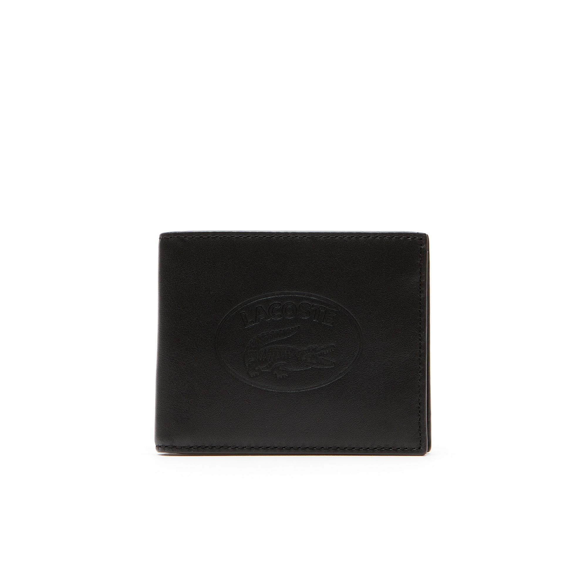 L.12.12 Casual-portemonnee heren voor 6 pasjes leer met reliëfletters