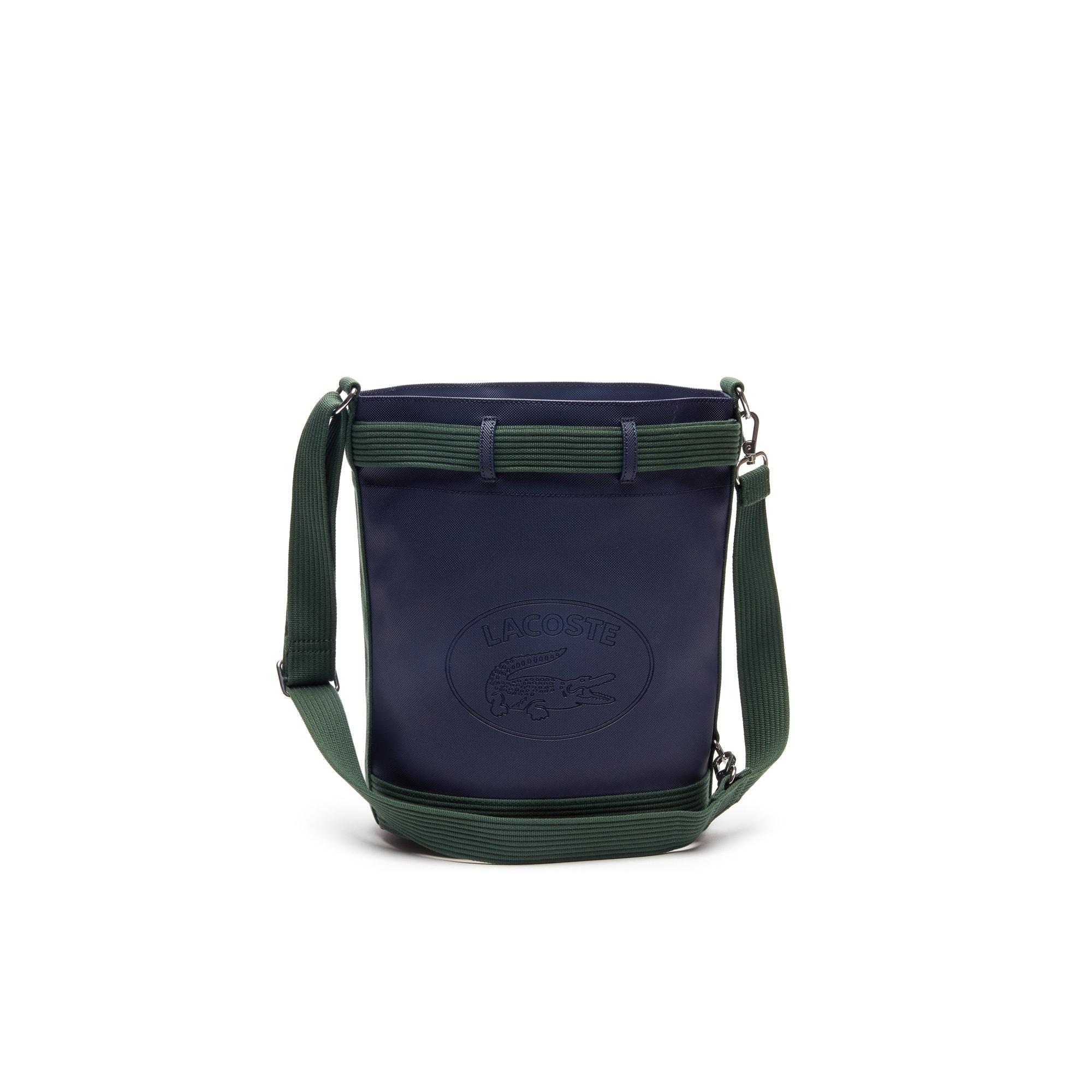 Klassieke bucketbag van gecoat piqué met colorblockpatroon