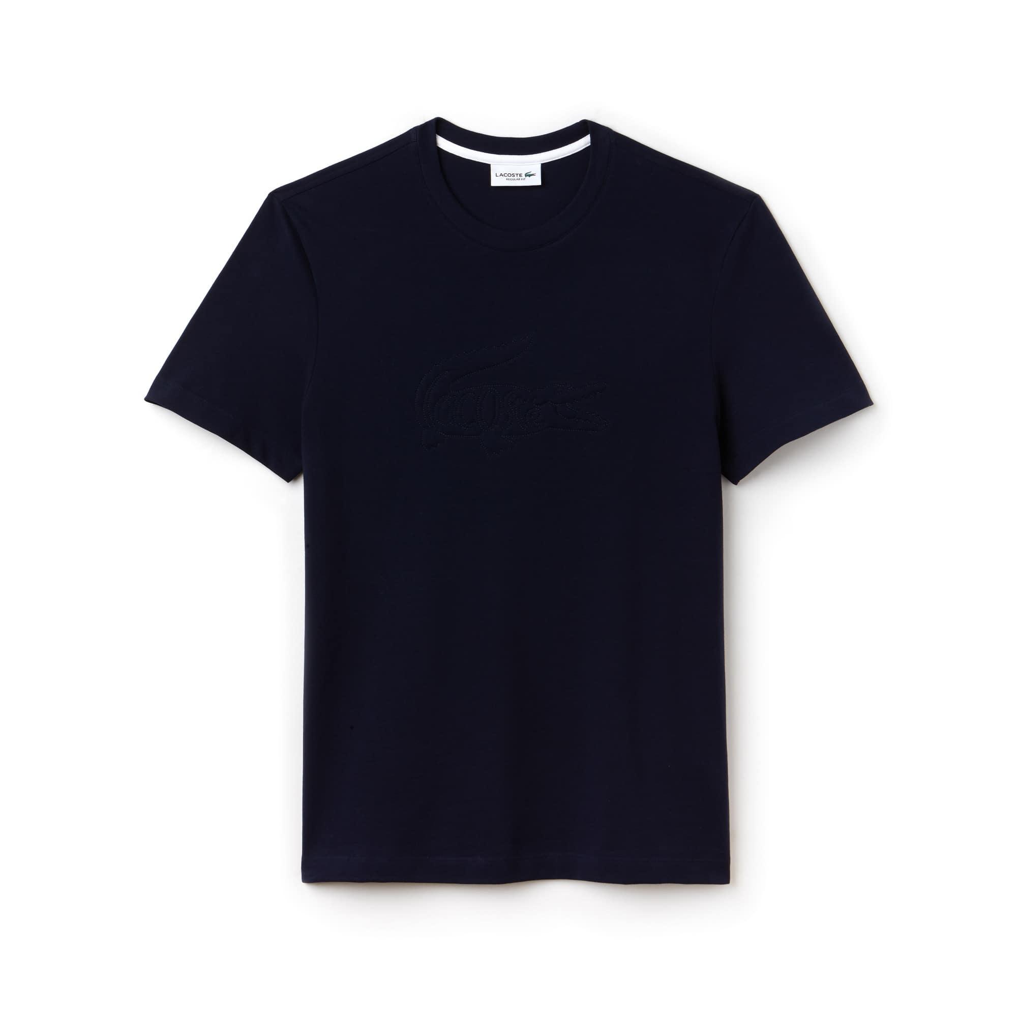 T-shirt heren ronde hals katoen-minipiqué met geborduurde krokodil