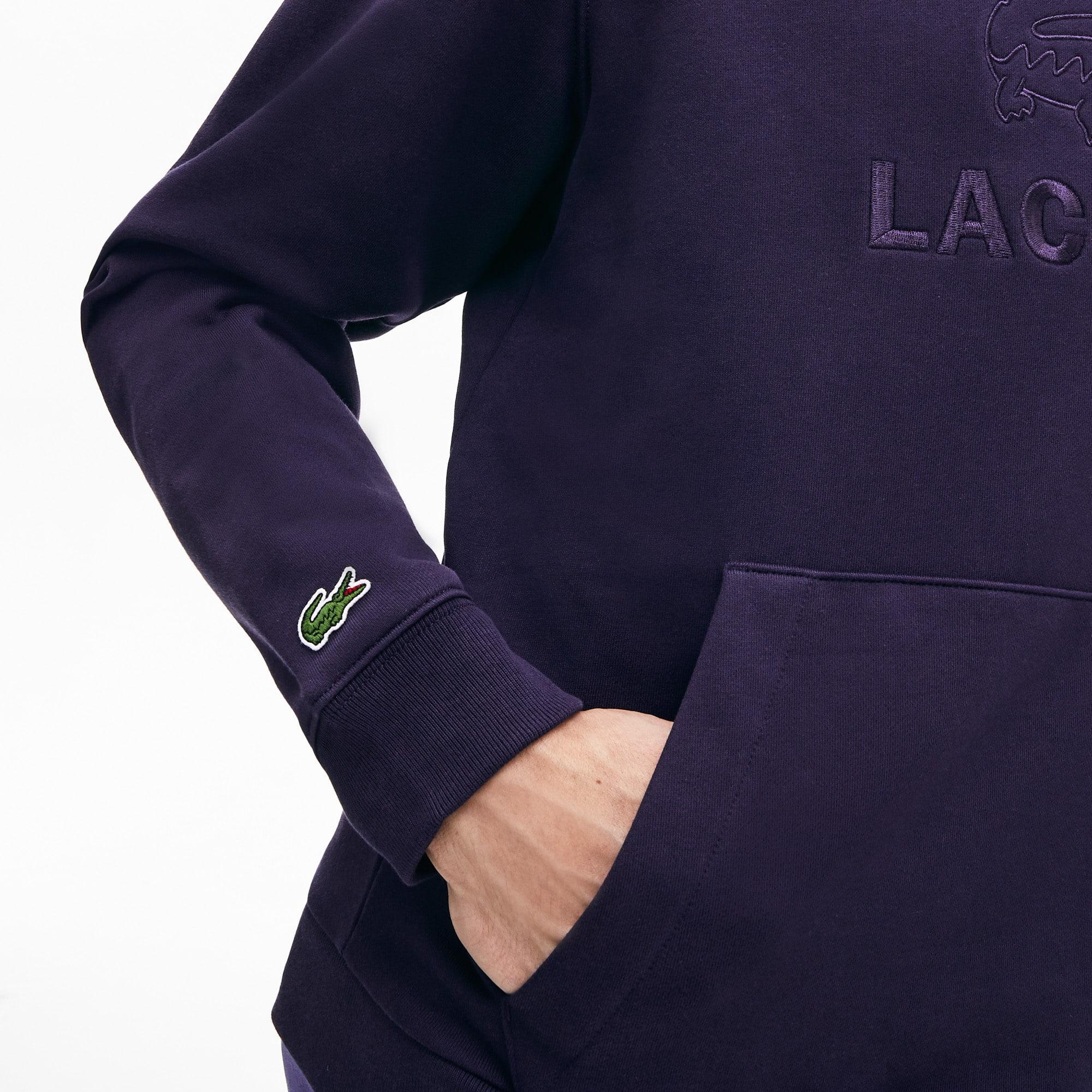 Sweatshirt heren geborduurd logo en kangoeroezak met capuchon fleece