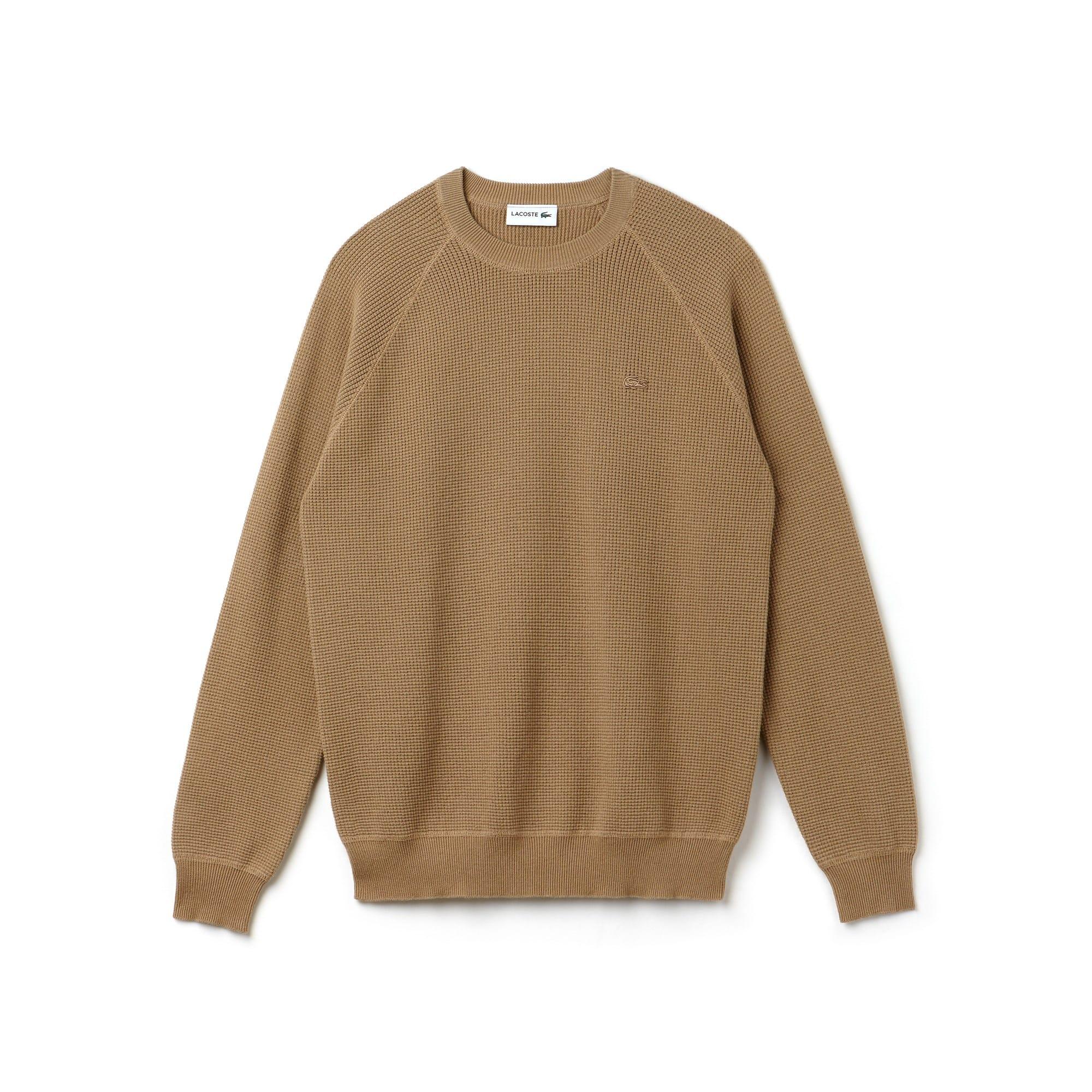 Sweater heren ronde hals honingraat katoencrêpe