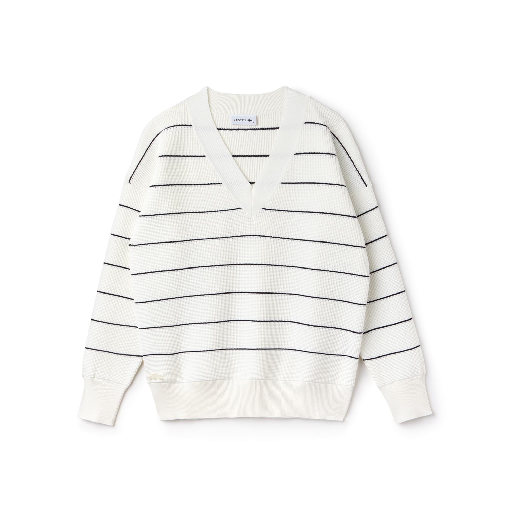 Sweater dames V-hals gestreept honingraat-breiwerk