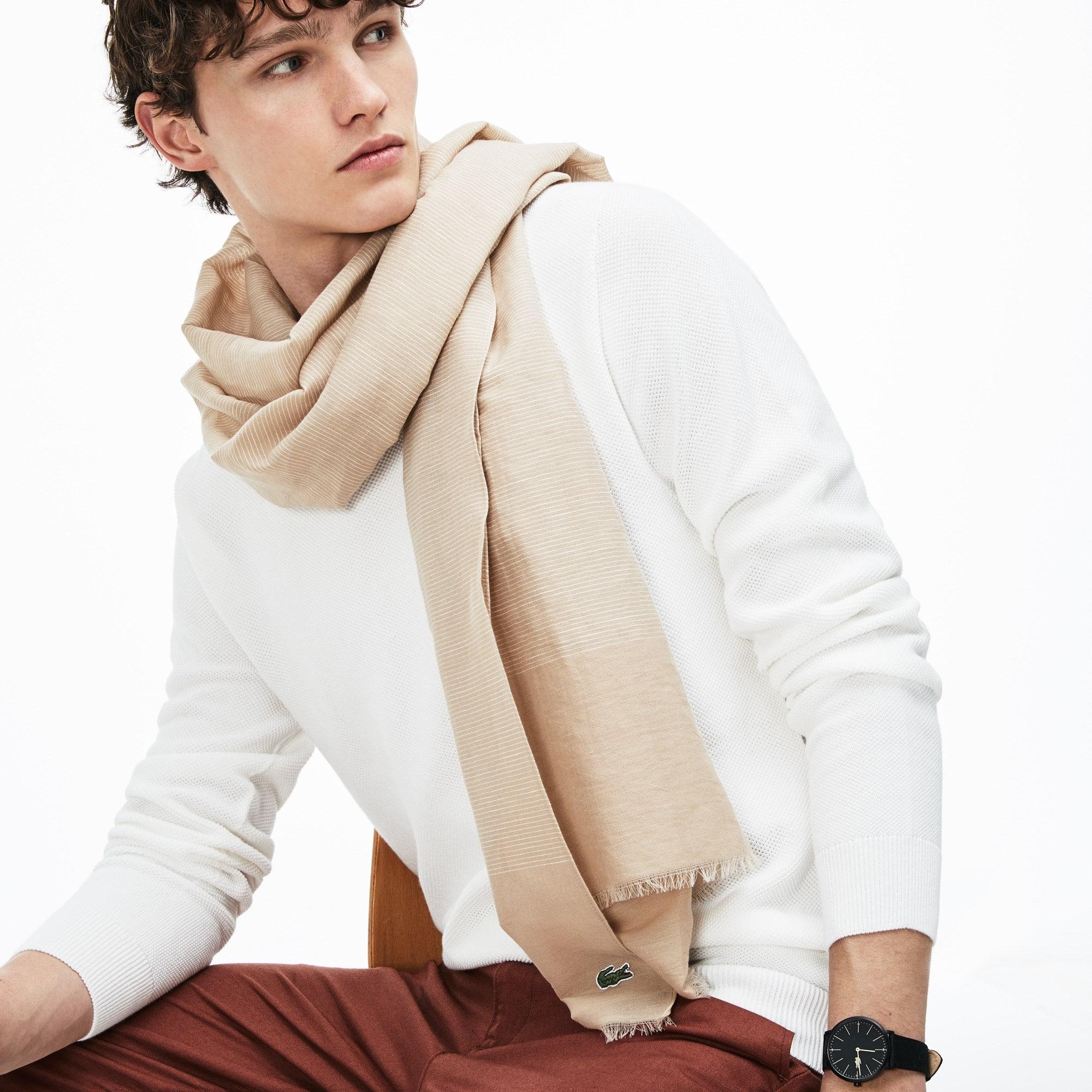 Sjaal heren gestreept katoen- en linnenvoile