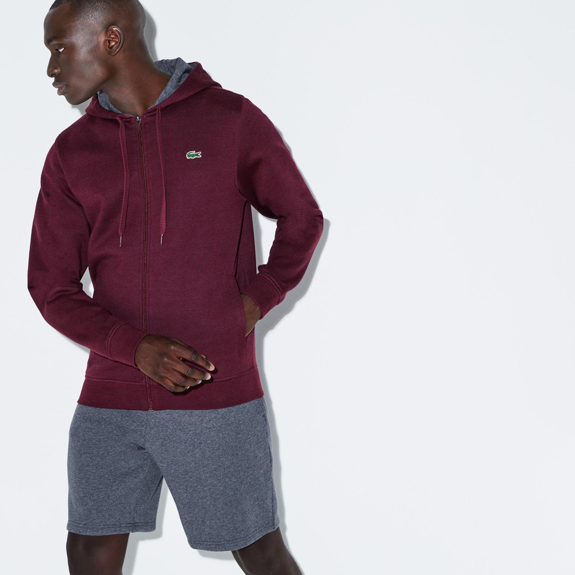 Lacoste SPORT tennissweater van effen molton met rits en capuchon