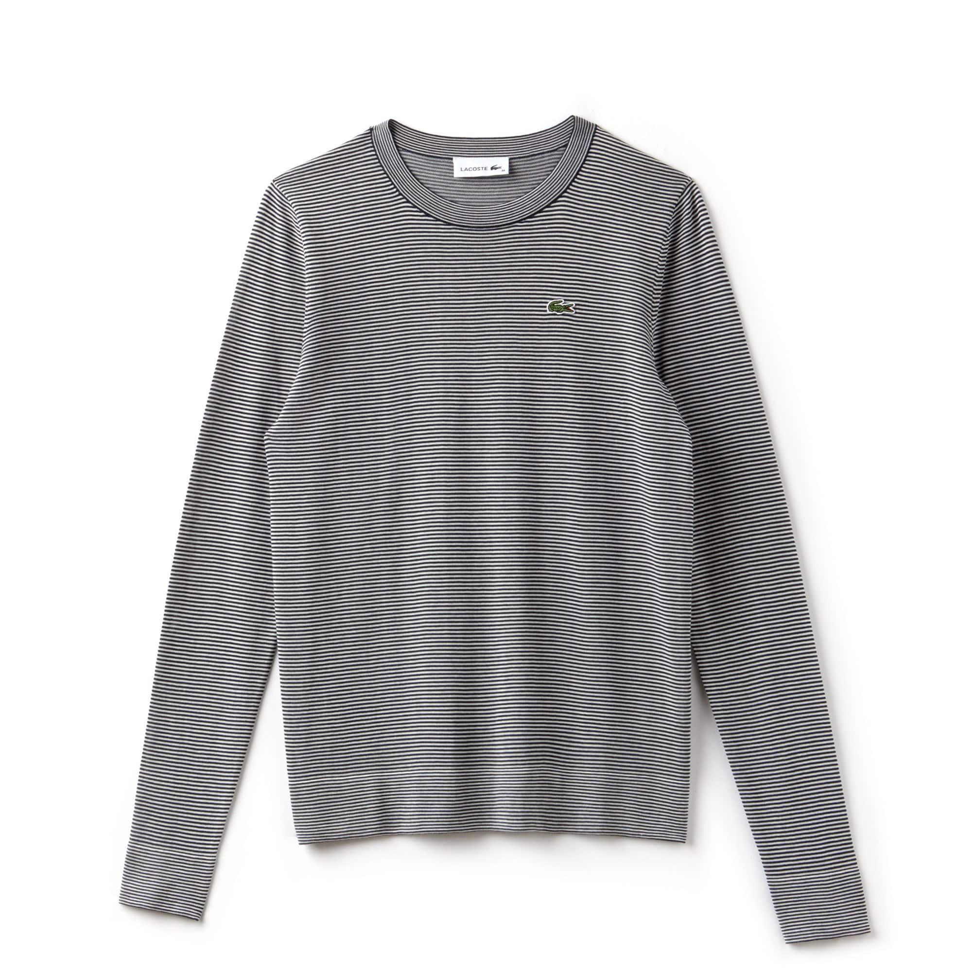 Sweatshirt dames hoge hals katoenjersey met krijtstreepjes