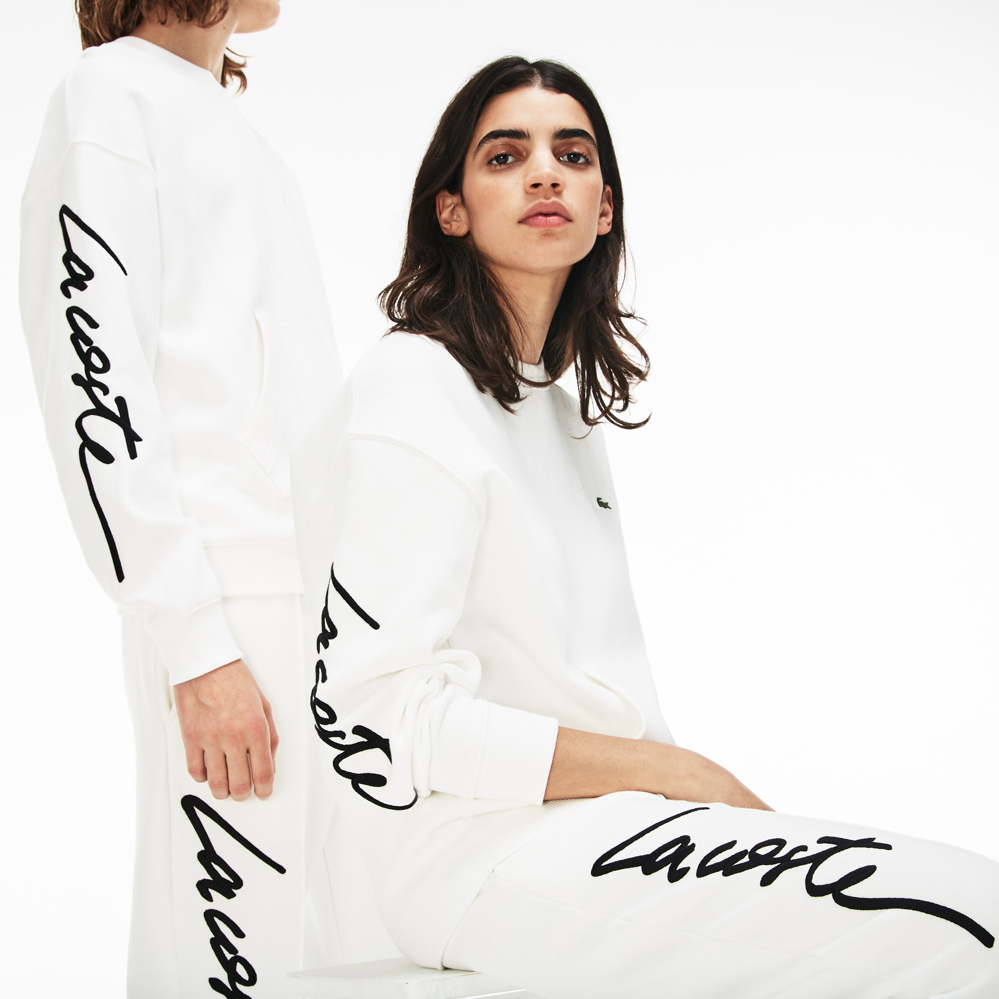 Lacoste LIVE-sweatshirt unisex ronde hals fleece met borduurwerk