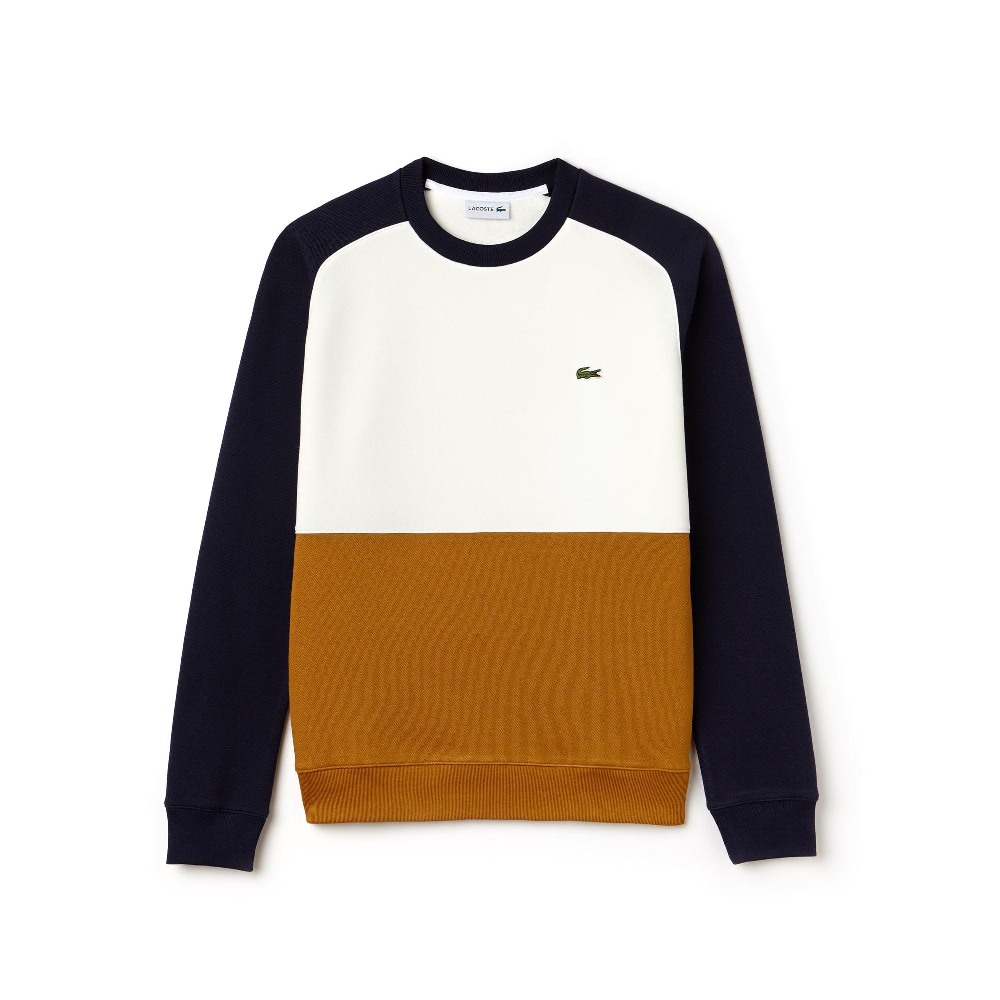 Sweatshirt heren colorblock katoenpiqué-fleece