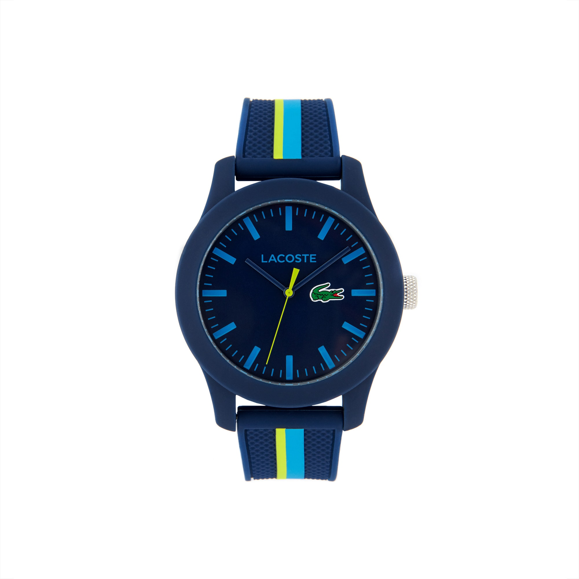 Men Lacoste 12.12 Holiday Horloge met Blauwen Siliconen Armband