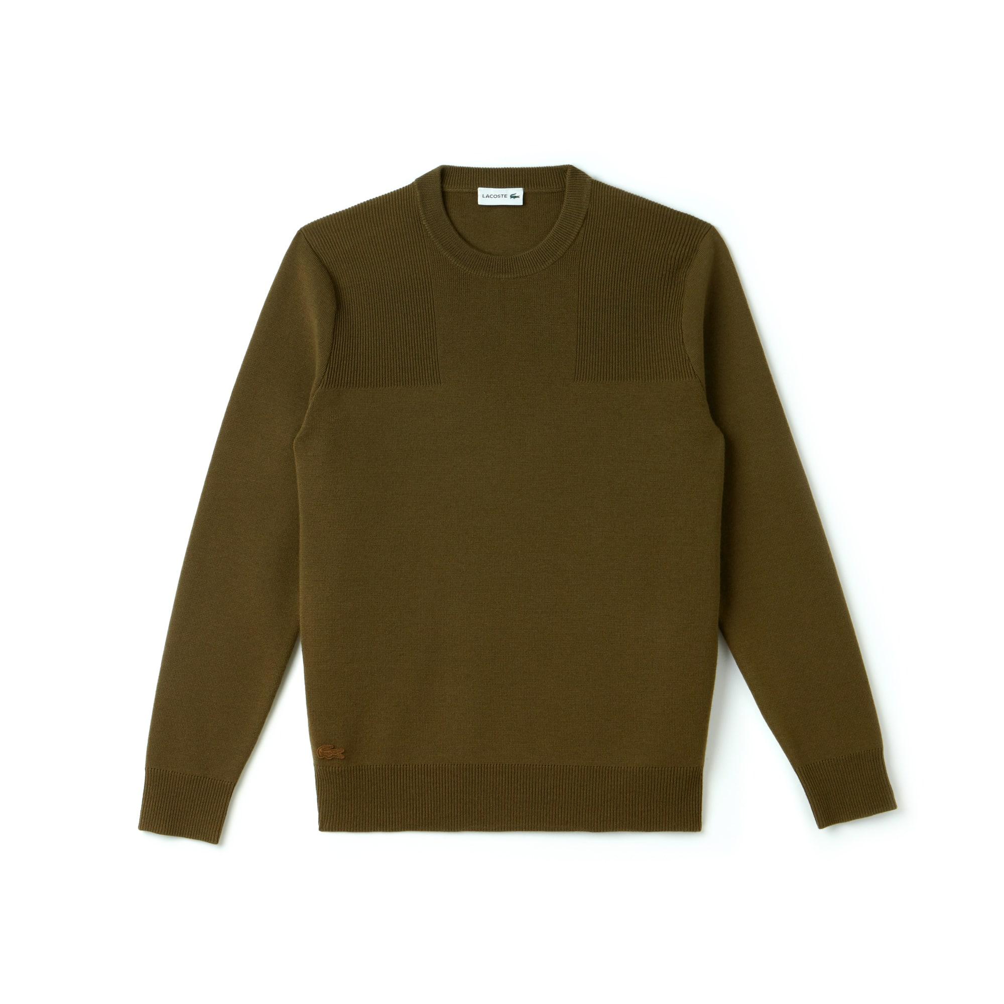 Sweater heren ronde hals met technisch breiwerk