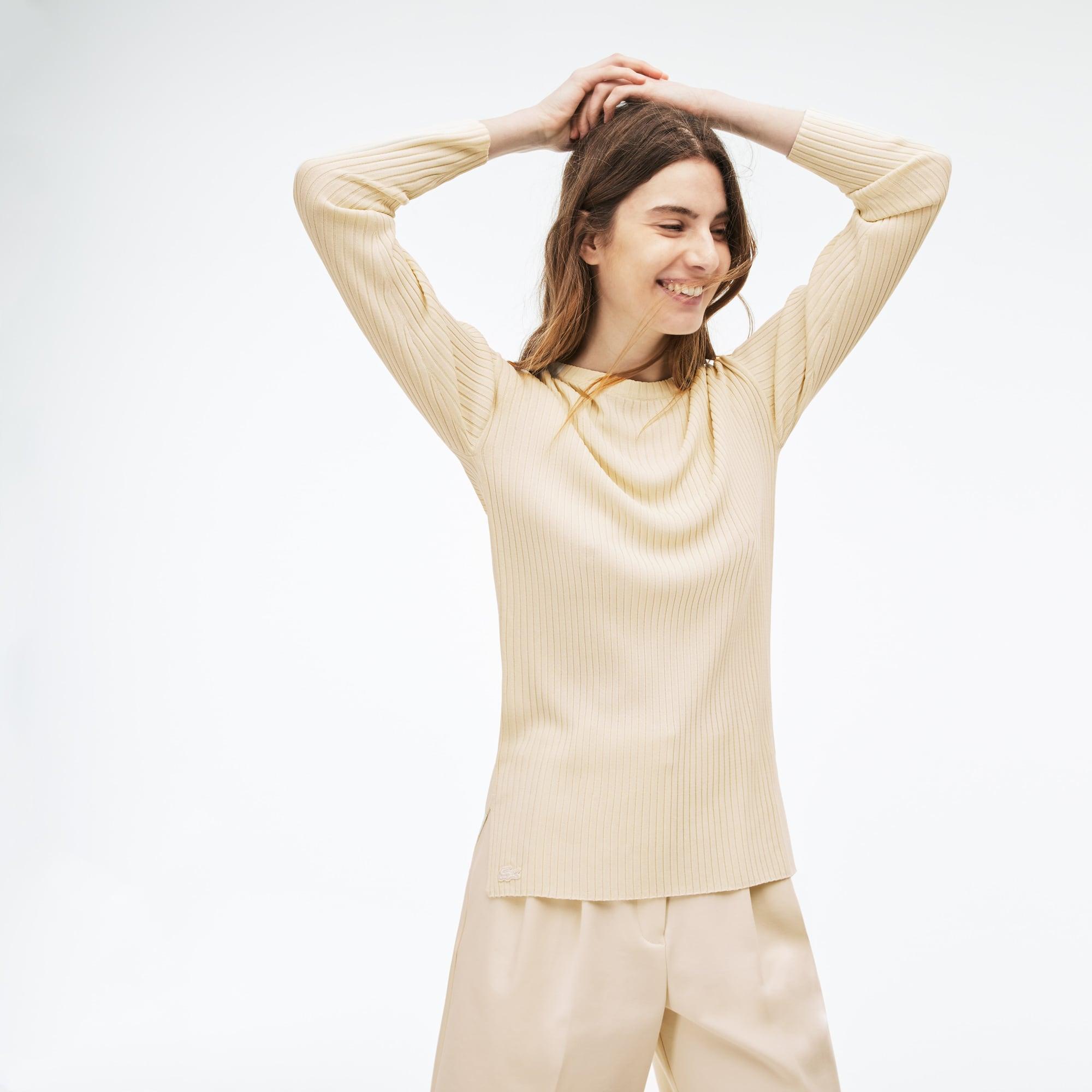 Sweater dames ronde hals geribd breiwerk