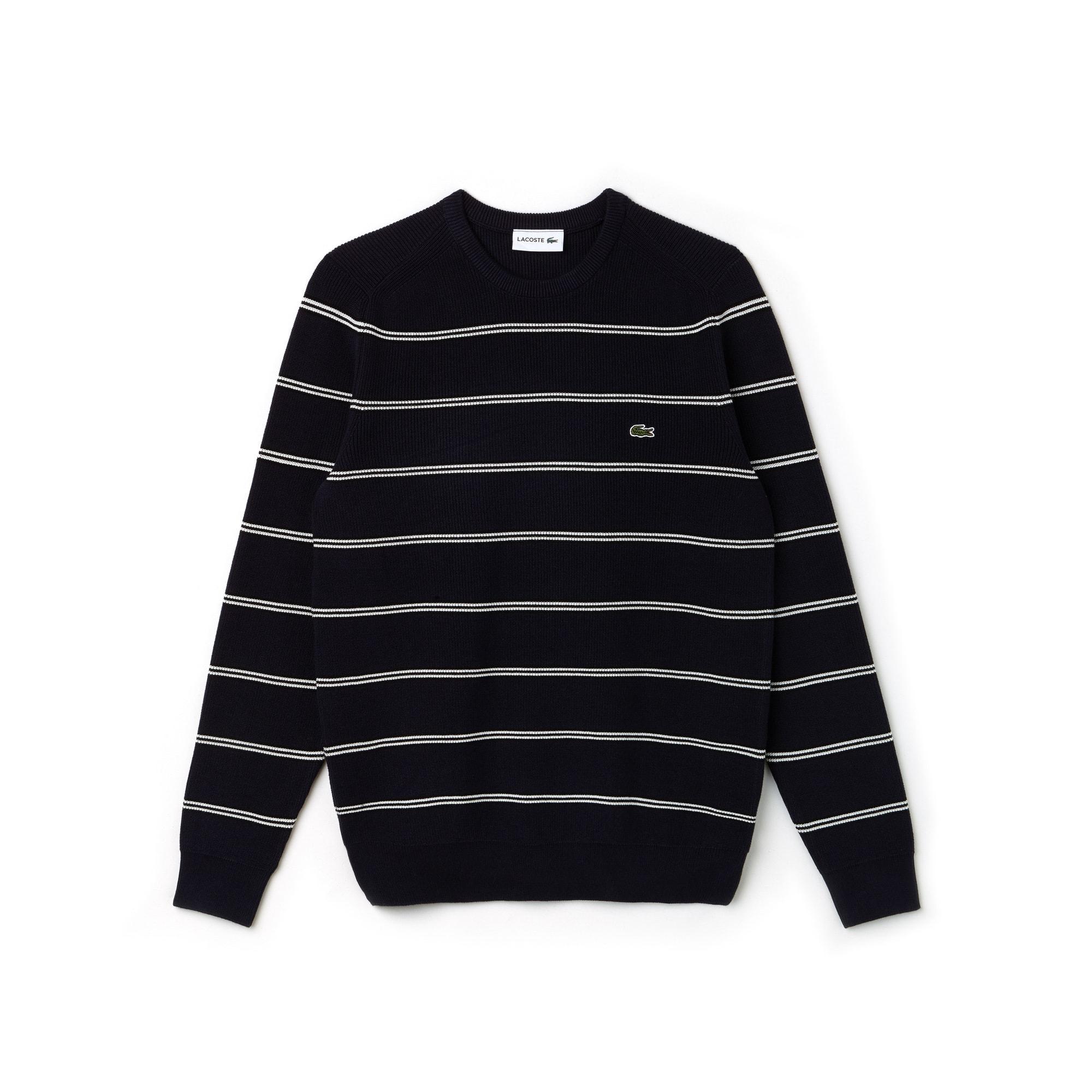 Sweater heren ronde hals geribd katoen met gestreepte stroken