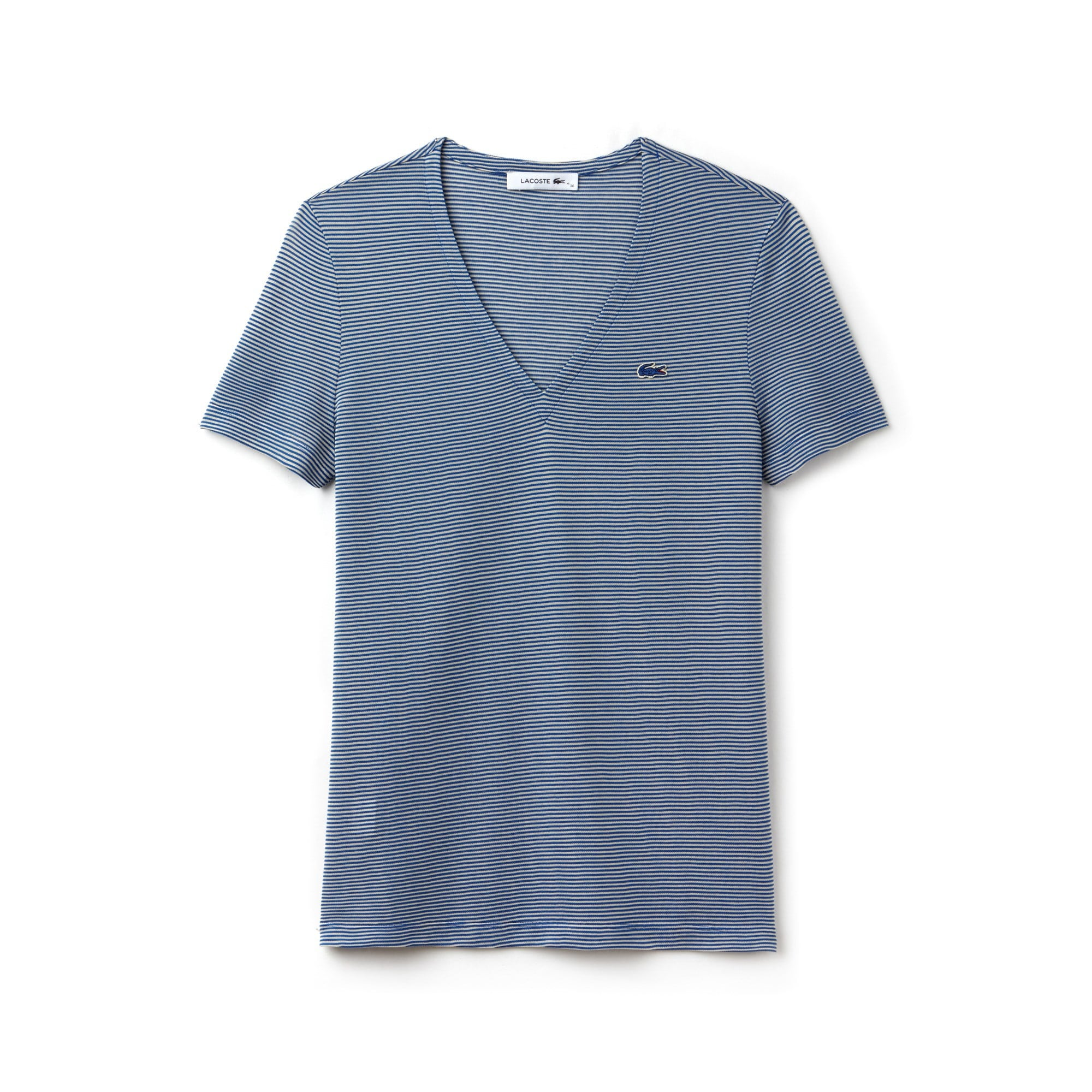 T-shirt dames V-hals krijtstrepen katoen-ottomanjersey