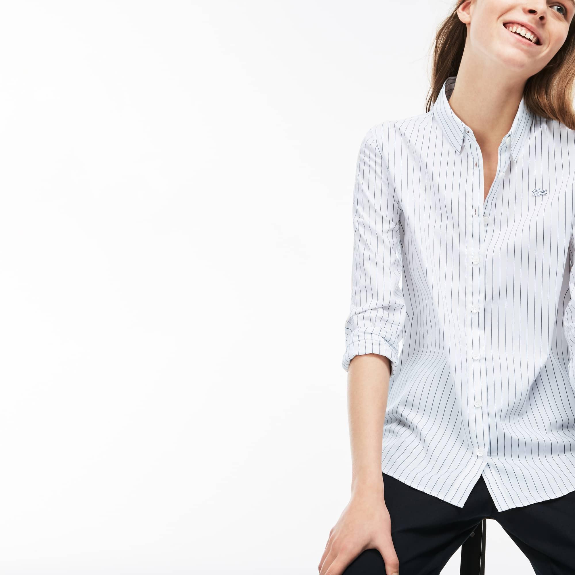 Shirt dames regular fit gestreepte katoenpopeline