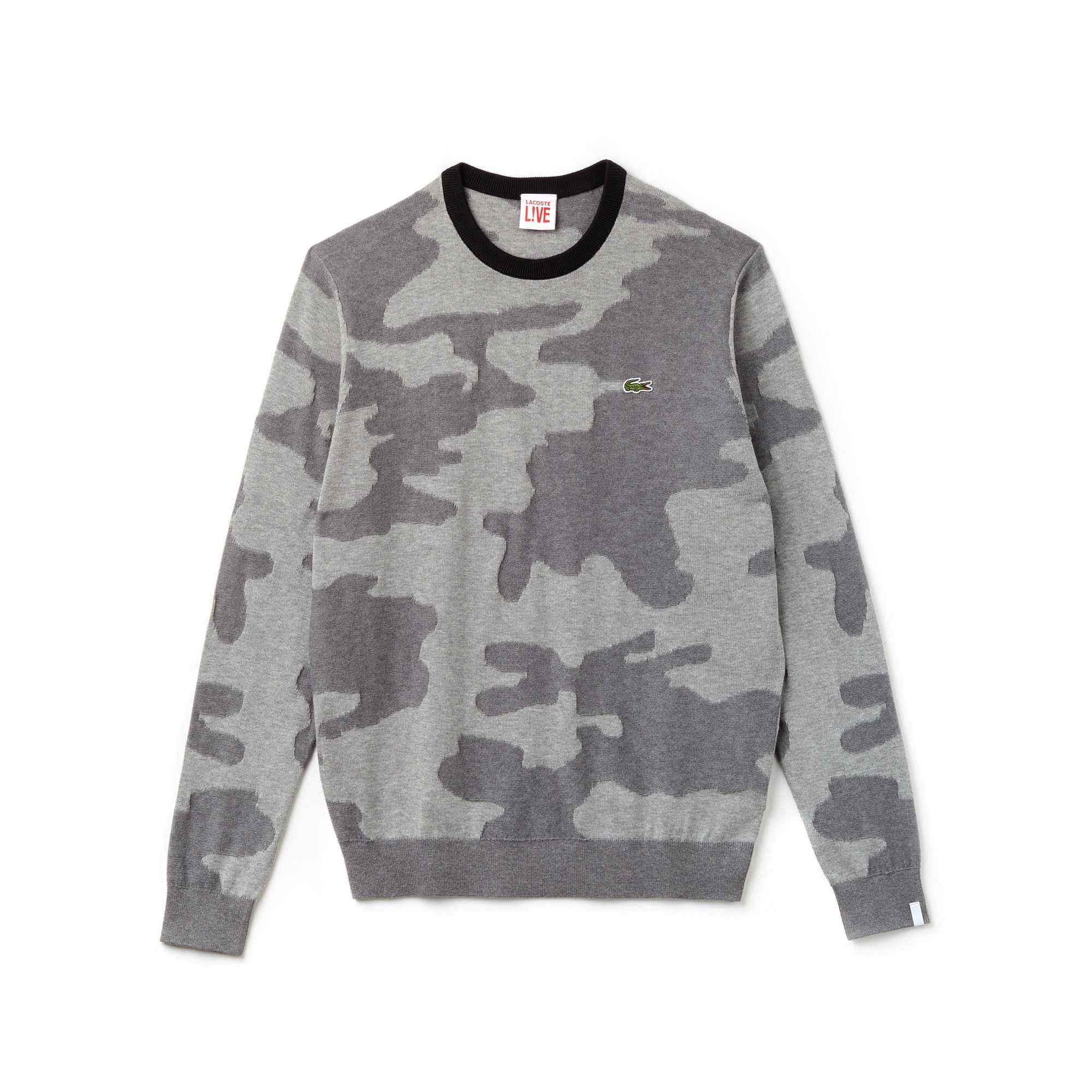 Lacoste LIVE-T-sweater heren ronde hals camouflageprint jacquard