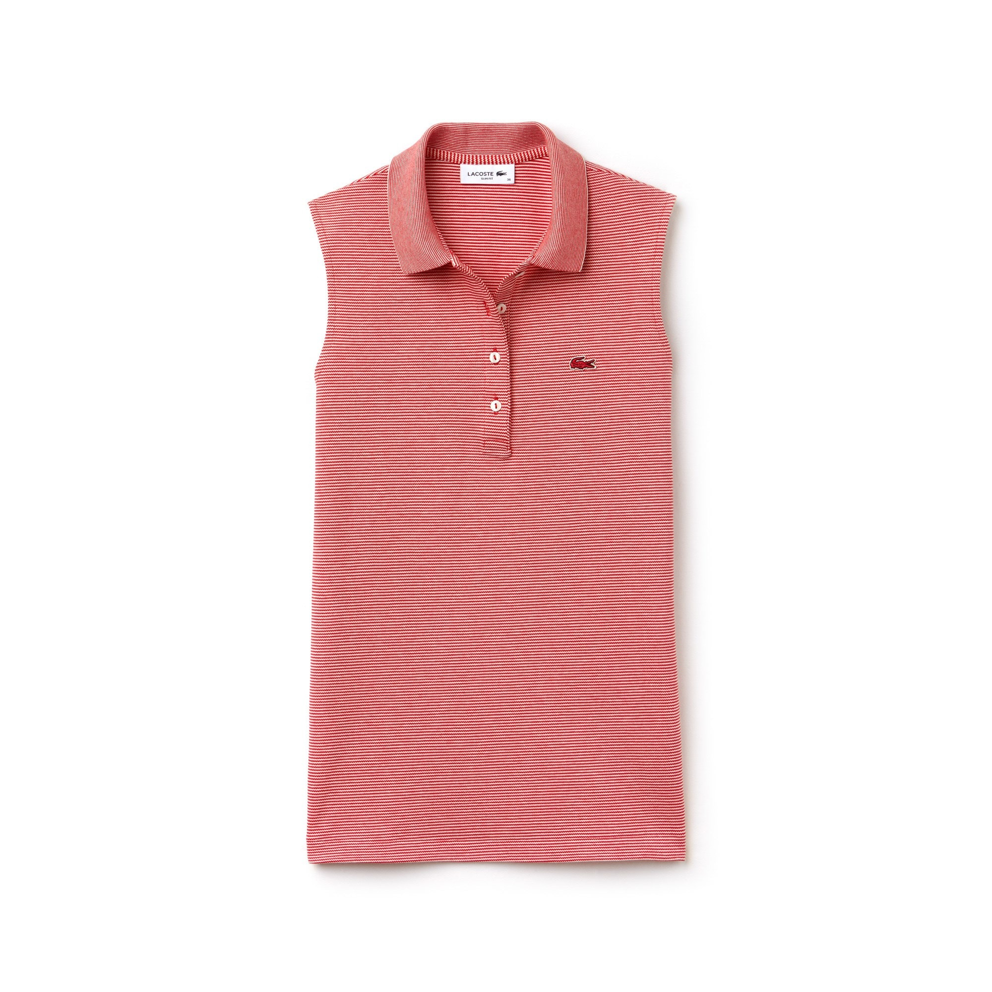 Lacoste polo dames slim fit, stretch mini piqué met krijtstreepjes