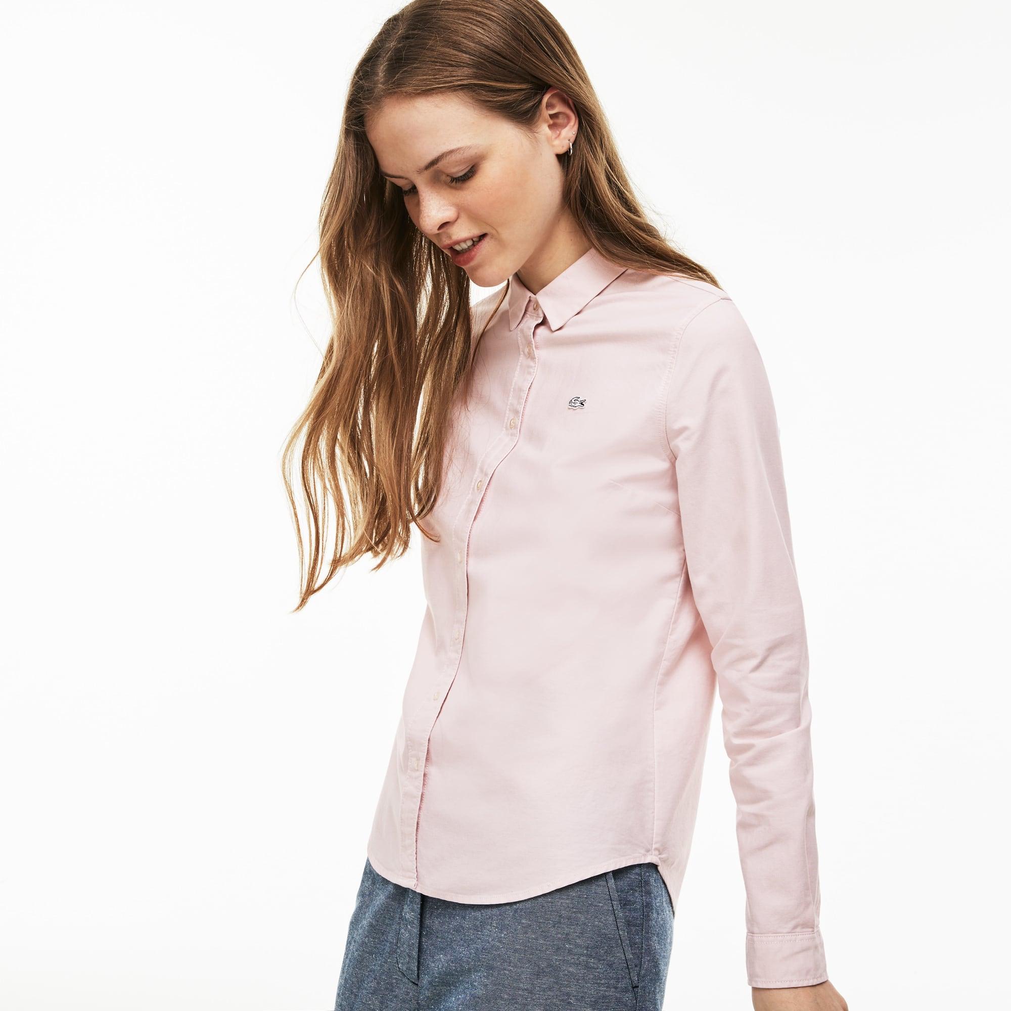 Lacoste LIVE-shirt dames slim fit Oxfordkatoen