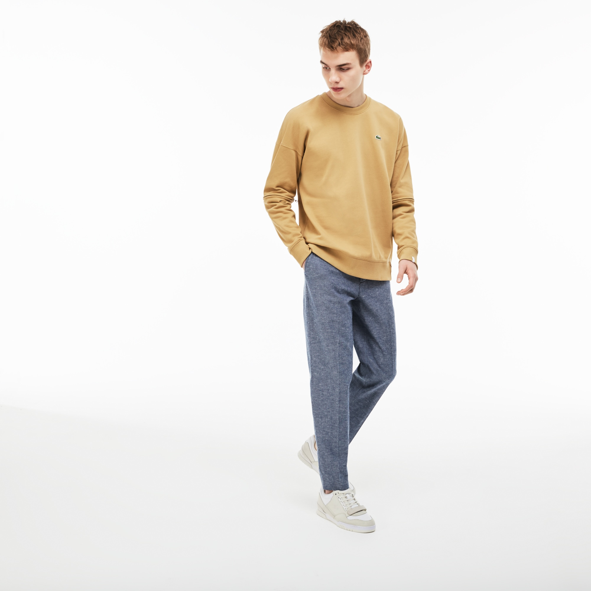 Lacoste LIVE-chino heren chambray geplooid