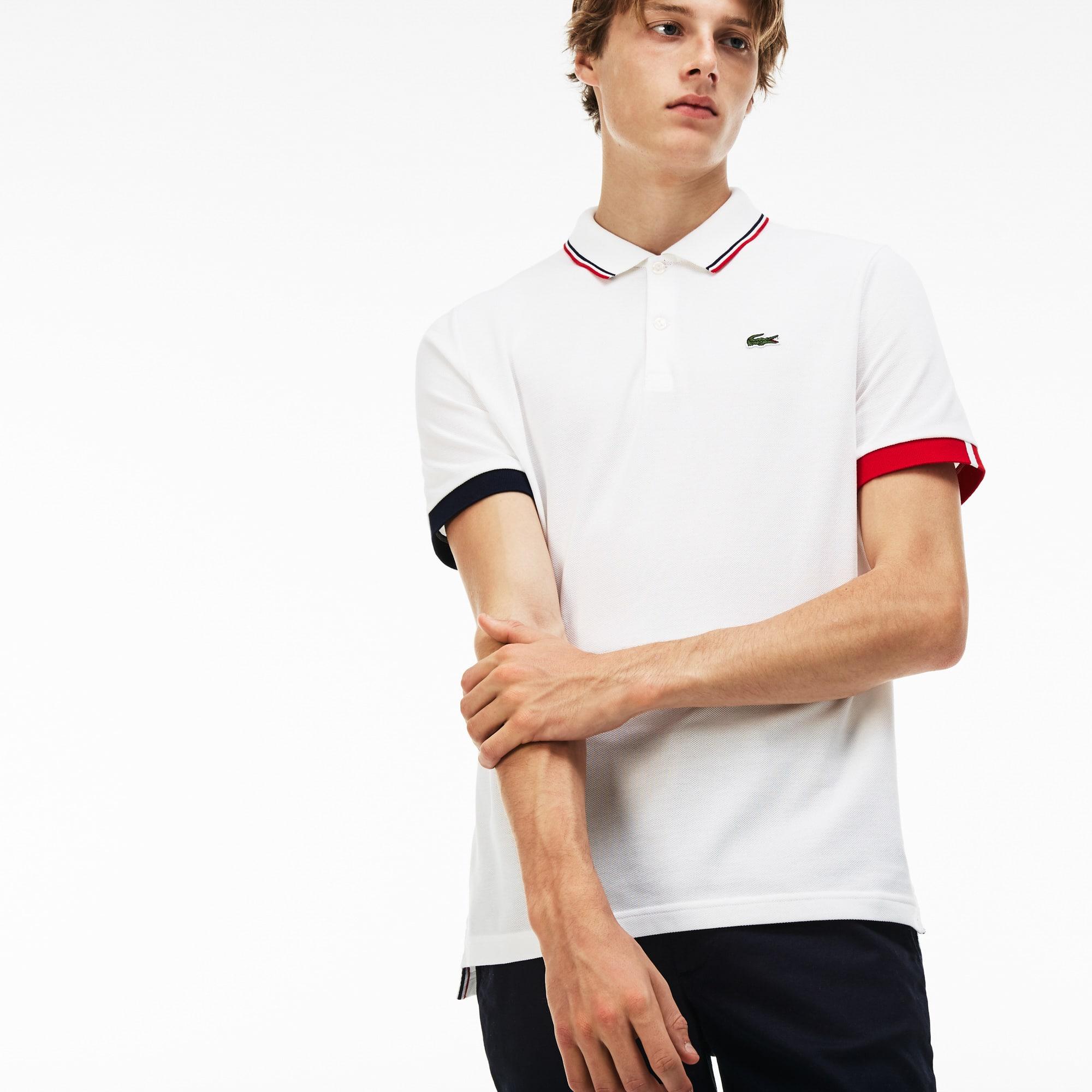 Men's Lacoste LIVE Slim Fit Piped Neck Petit Piqué Polo