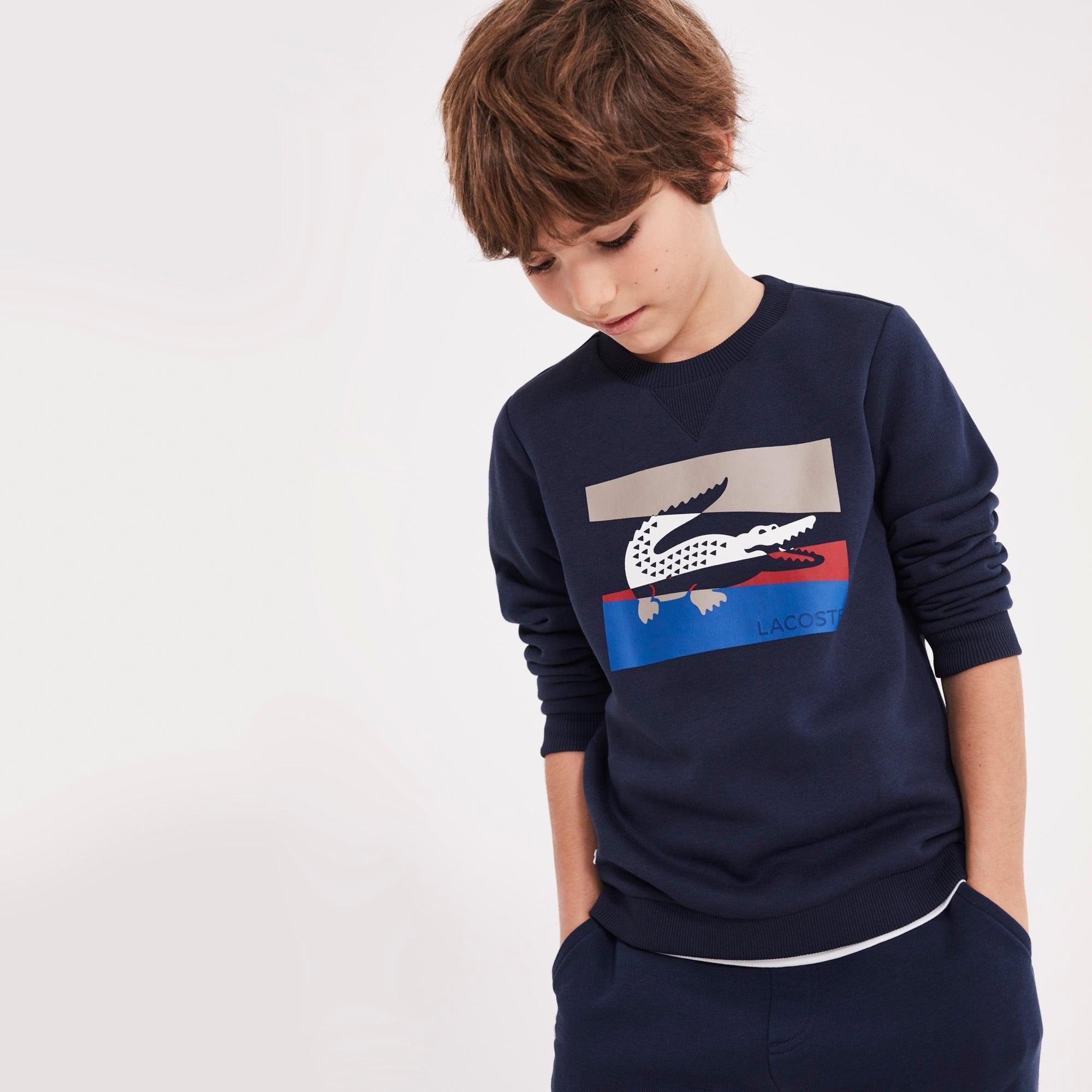 Sweatshirt jongens fleece met ronde hals en colorblock-letters